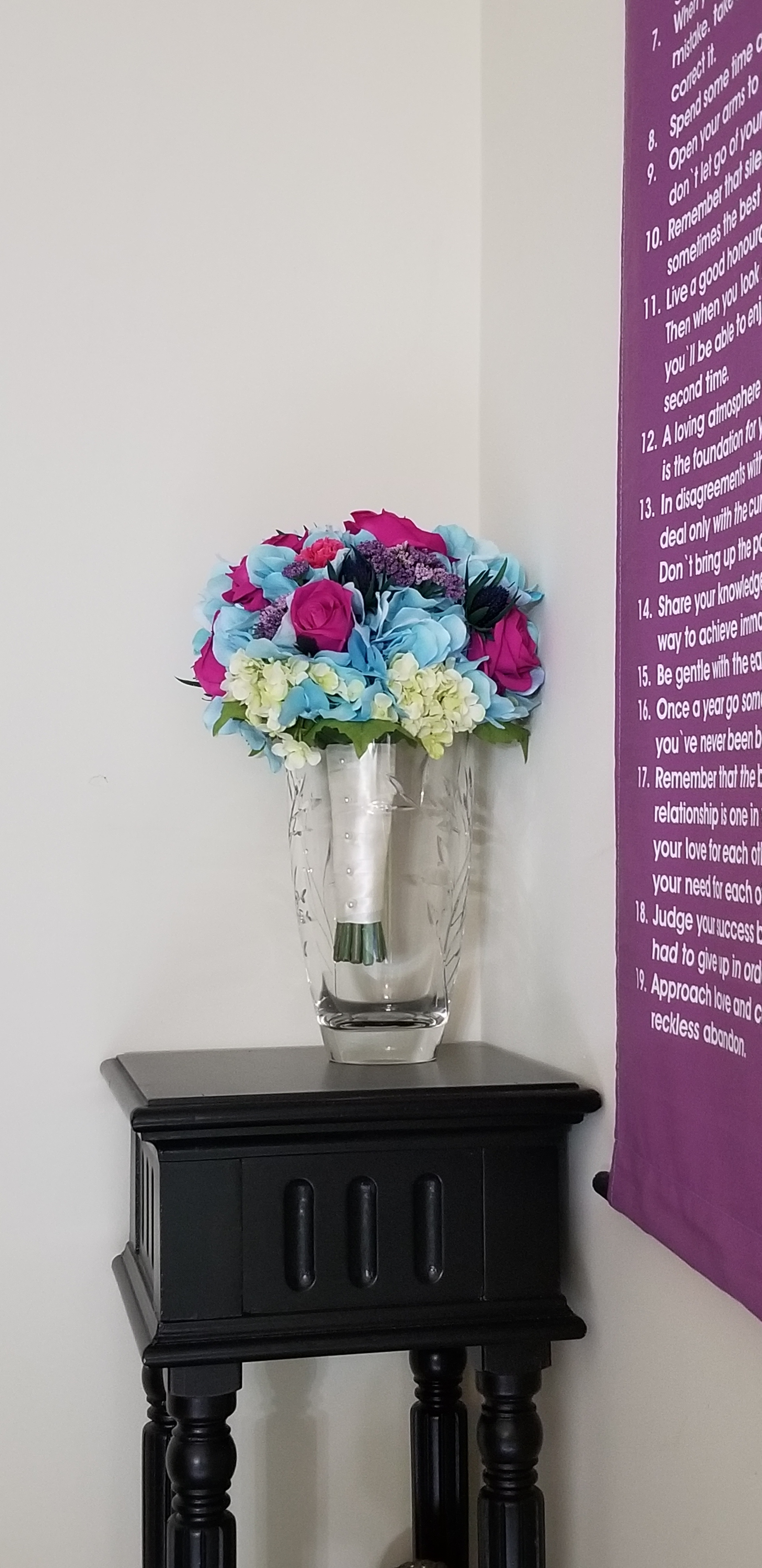 magenta-roses-carnations-blue-thistle-green-blue-hydrangea-purple-queen-annes-lace-silk-wedding-flower-recreation