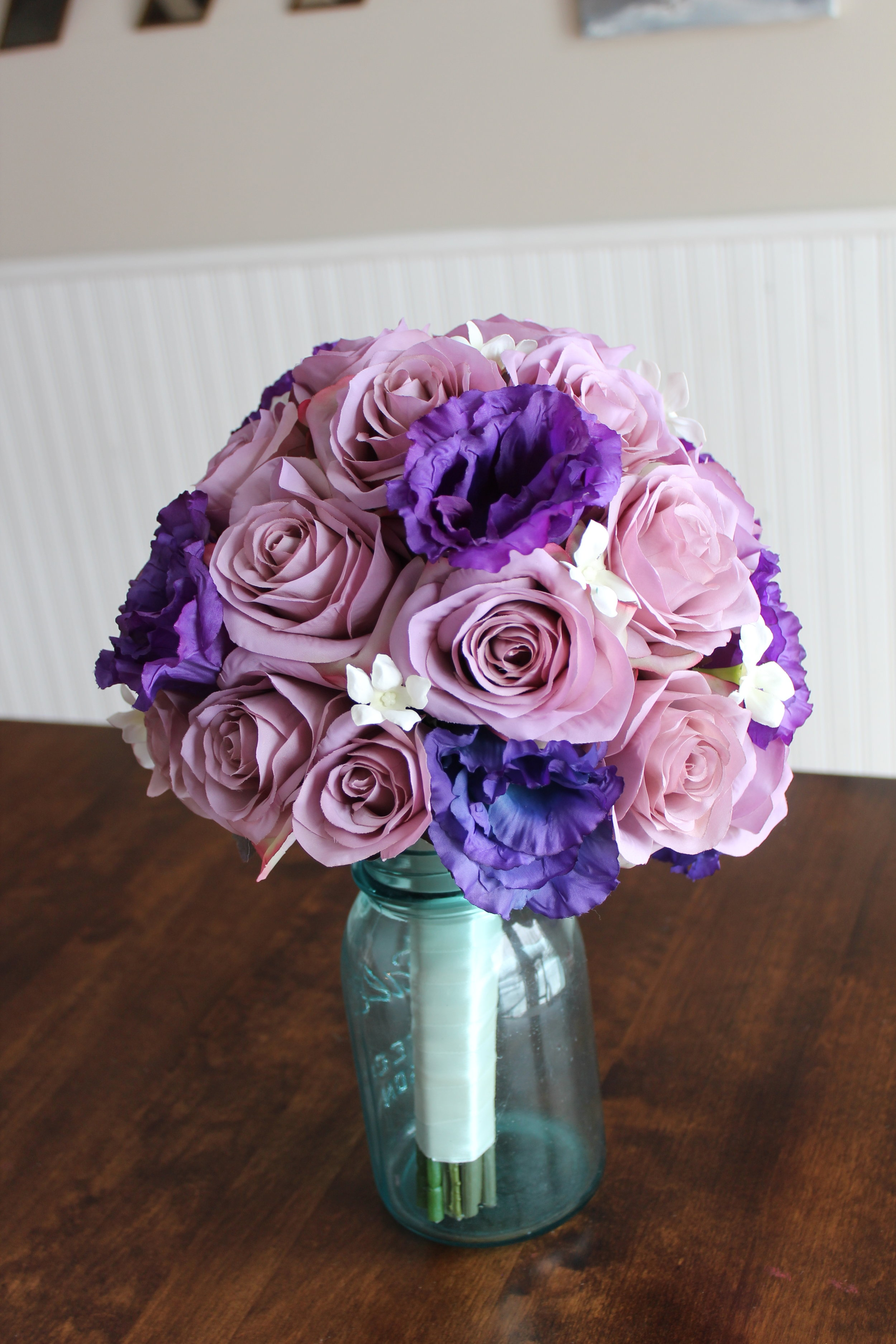 lavendar-roses-dark-purple-lisianthus-white-stephanotis-satin-white-ribbon-wrap-silk-wedding-bouquet-recreation