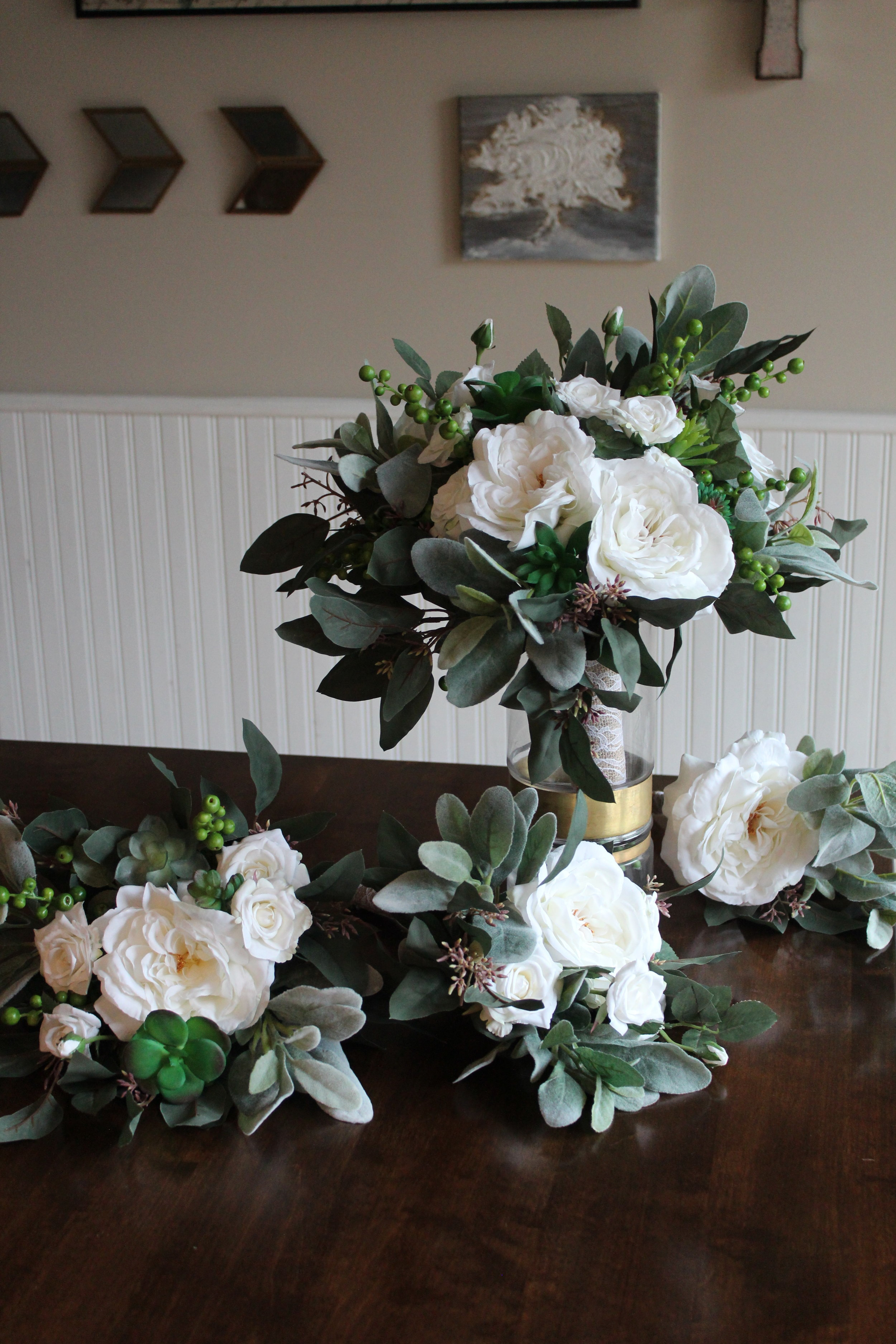 White Green Gold And Succulents In Custom Silk Wedding Flowers Silk Wedding Flowers And Bouquets Online Love Is Blooming