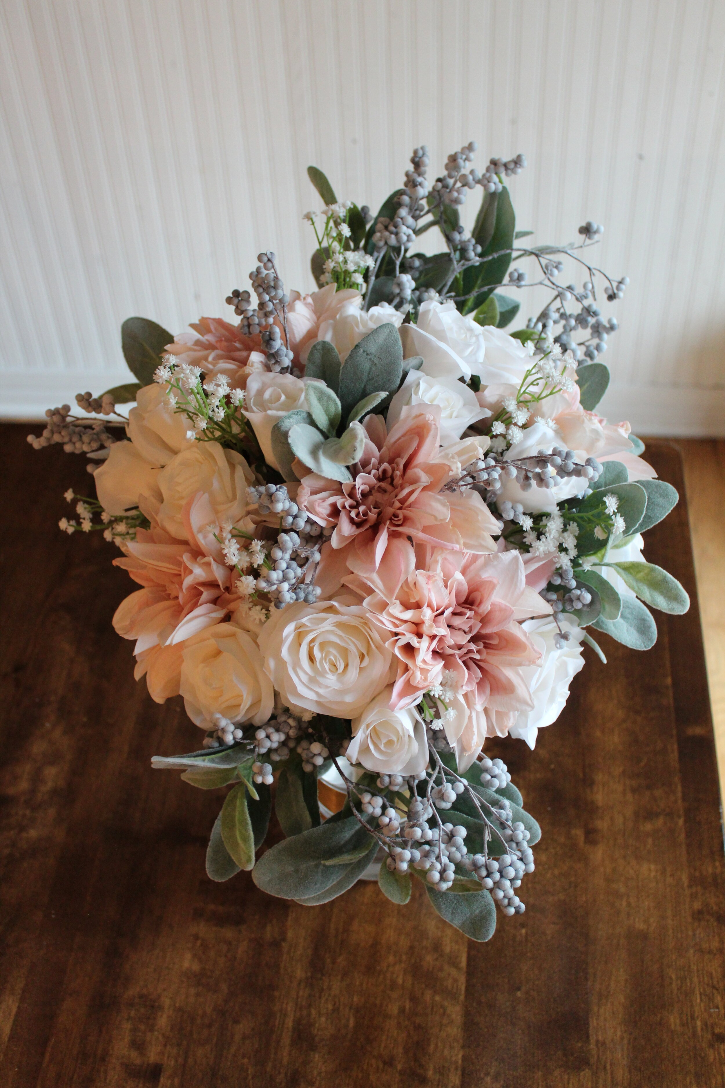Champagne Ivory Gray And Dusty Blue Silk Wedding Flowers Silk Wedding Flowers And Bouquets Online Love Is Blooming