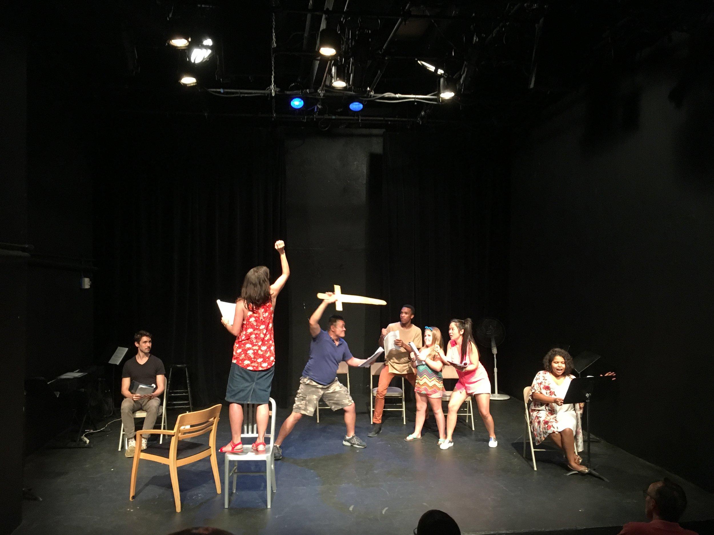 Urban Stages Family Night Reading Cast: Ariel Estrada, Drew Bolander, Jessica Vera, Hui-Shan Yong, Quinn Gavin, Alex Robertson, Sara Gomez