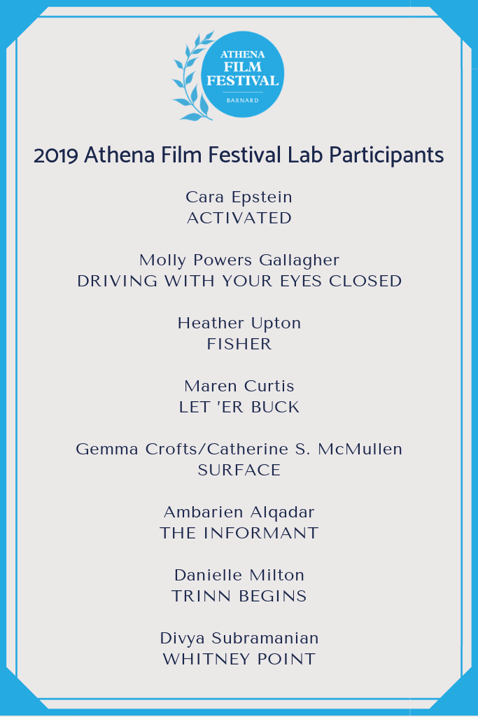 Athena Film Festival Screenwriting Lab - Molly's script DRIVING WITH YOUR EYES CLOSED has been selected for The Lab at The Athena Film Festival, where she will be mentored by Michael Arndt, Laurie Collyer, Shinho Lee & Ligiah Villalobos, amongst a team of storytellers dedicated to championing female voices in film.