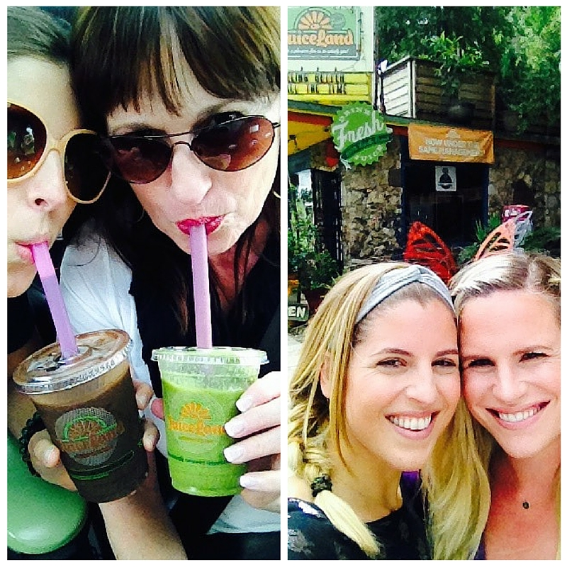 Getting our juice fix with my mom and sis