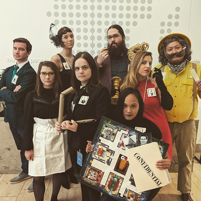 """Mr. Green with the Revolver in the Kitchen!"" 👨🏼‍🏫🔫 #gameofclue #insideindeed #happyhalloween #teamphoto 🎃"