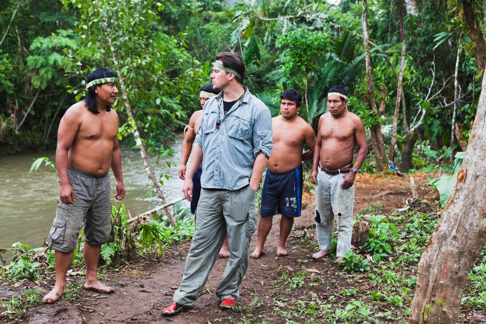 Channing Tatum with Sapara community members.  Credit: Andy Isaacson