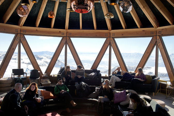 Guests in the lodge at a Summit Series weekend at Powder Mountain in January had views of the Wasatch range.Credit:Jim McAuley