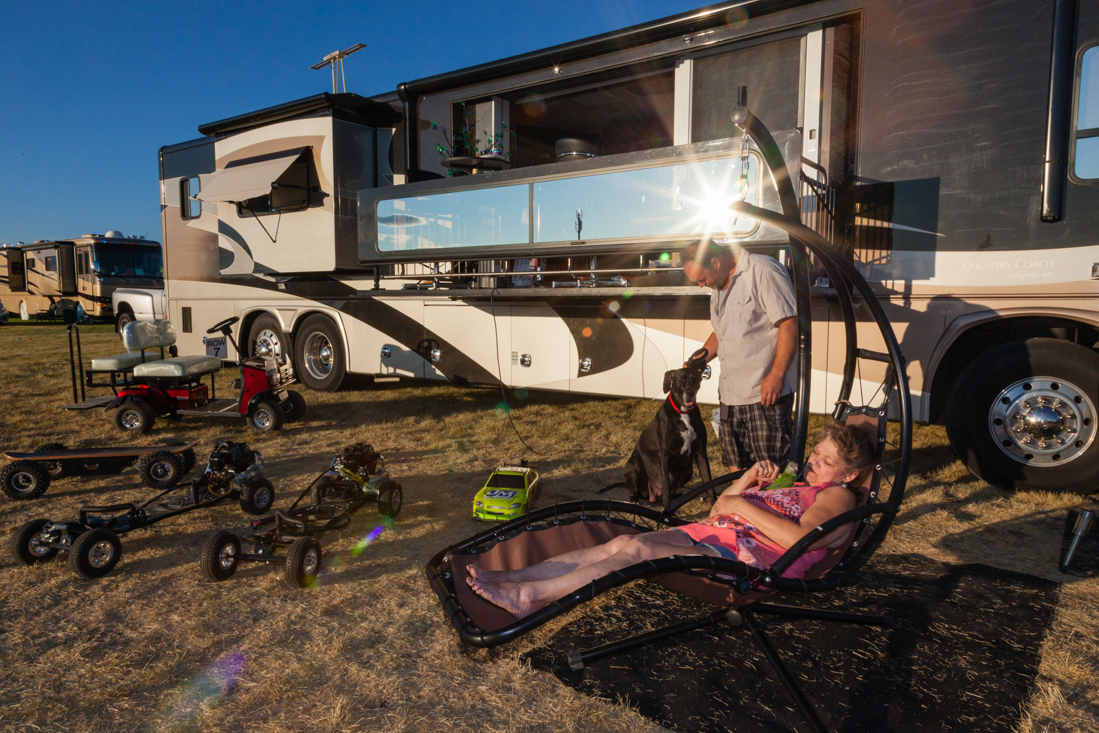 Steve Collins of Atkins, Iowa in his 45-ft. RV. Credit: Andy Isaacson