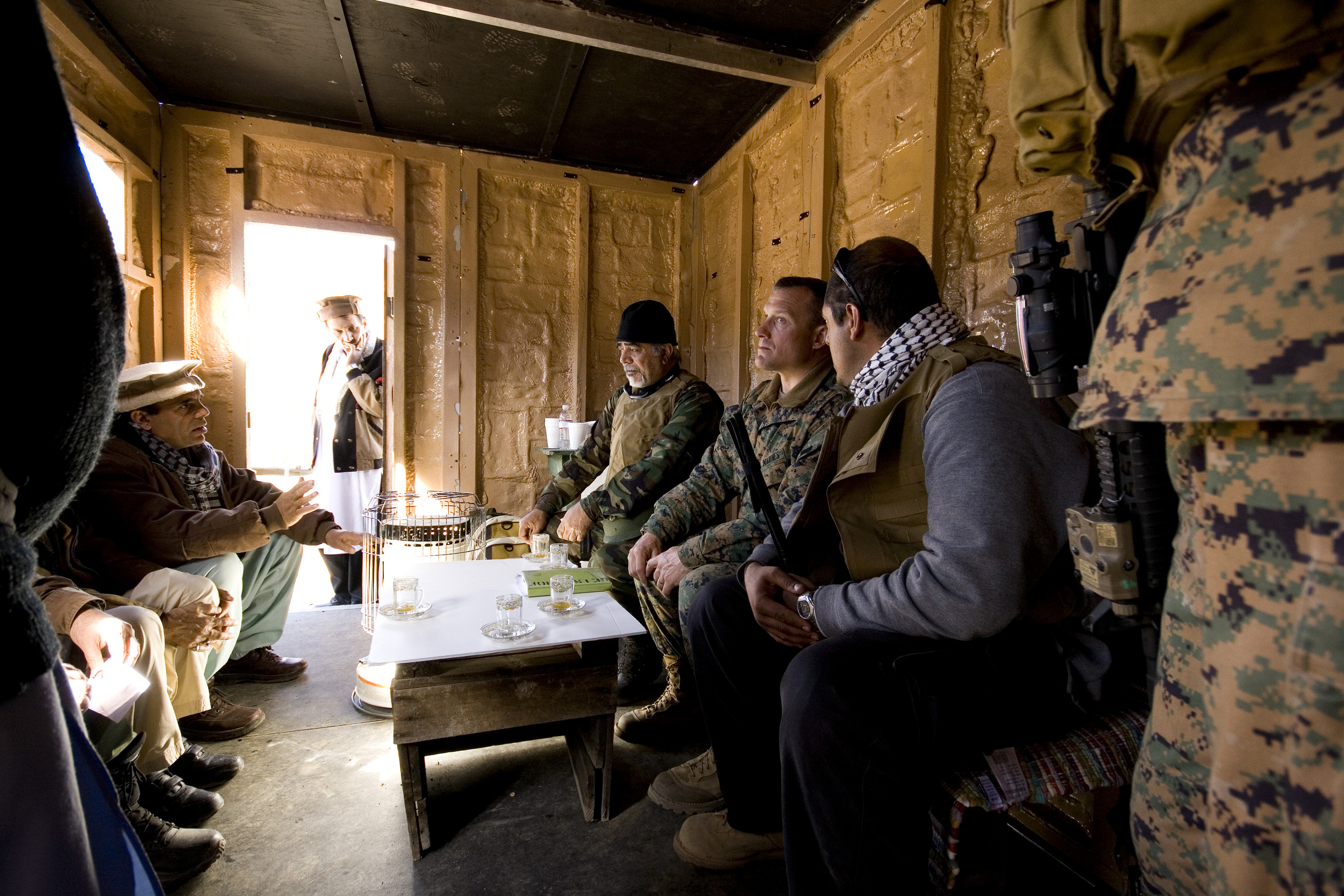 A meeting with village leaders. Credit: Andy Isaacson