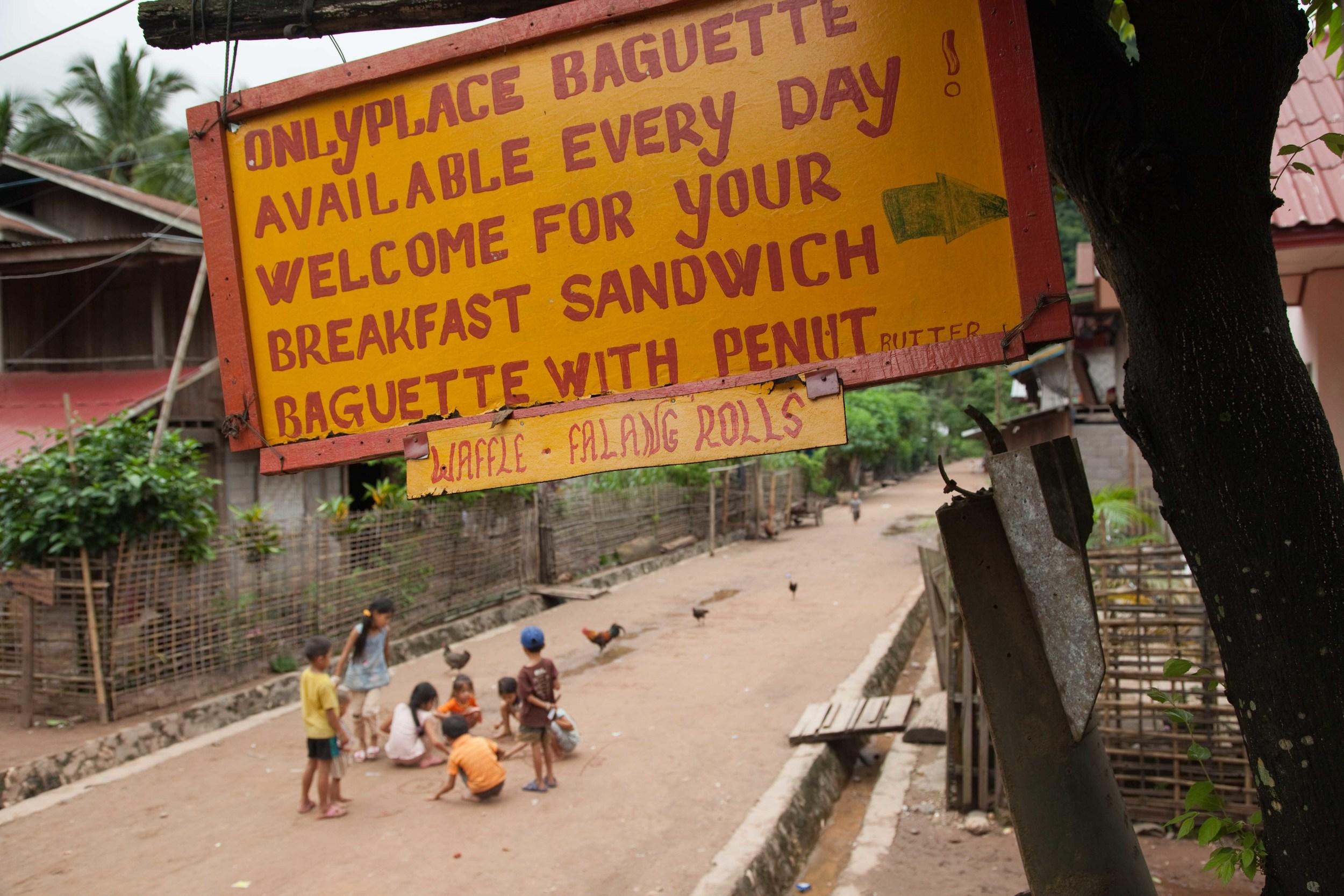 Phone Keo Restaurant in Muang Ngoi, advertising the Falang Roll. Credit: Andy Isaacson