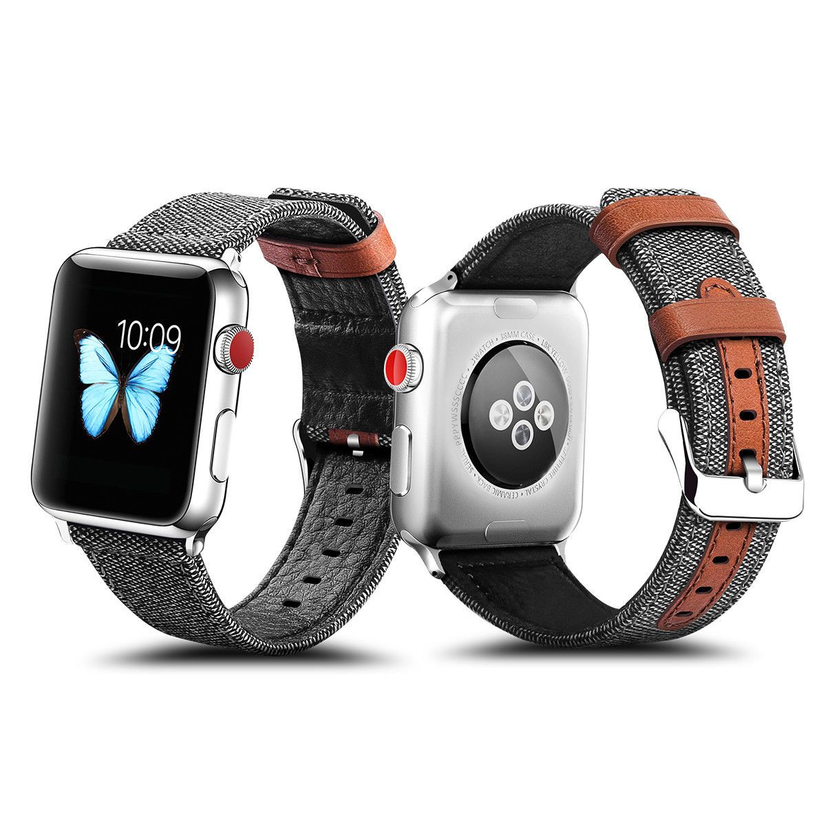 GENUINE LEATHER HYBRID CANVAS BAND FOR APPLE WATCH