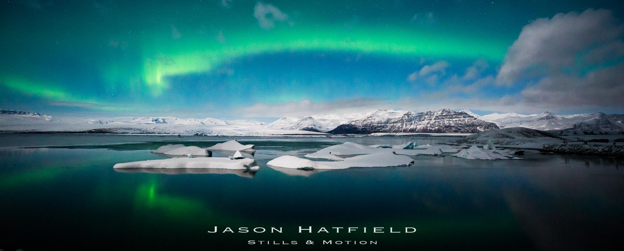 Northern Lights over Jökulsárlón Glacial Lagoon