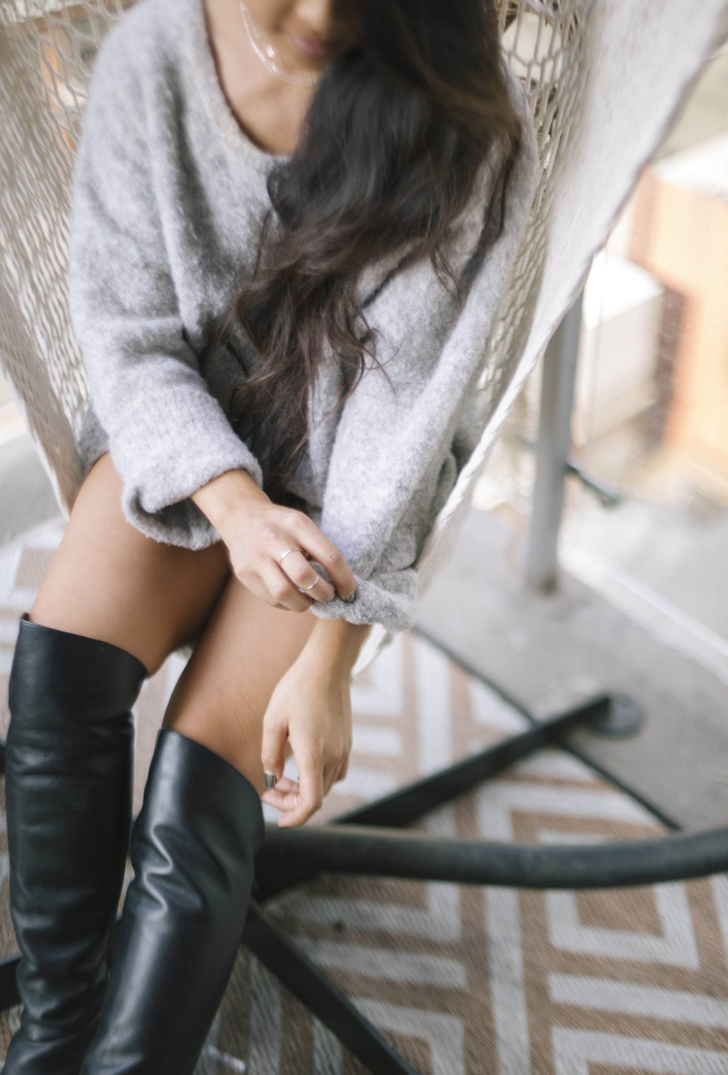 Sweater, Acne Studios ; Boots, Alexander Wang
