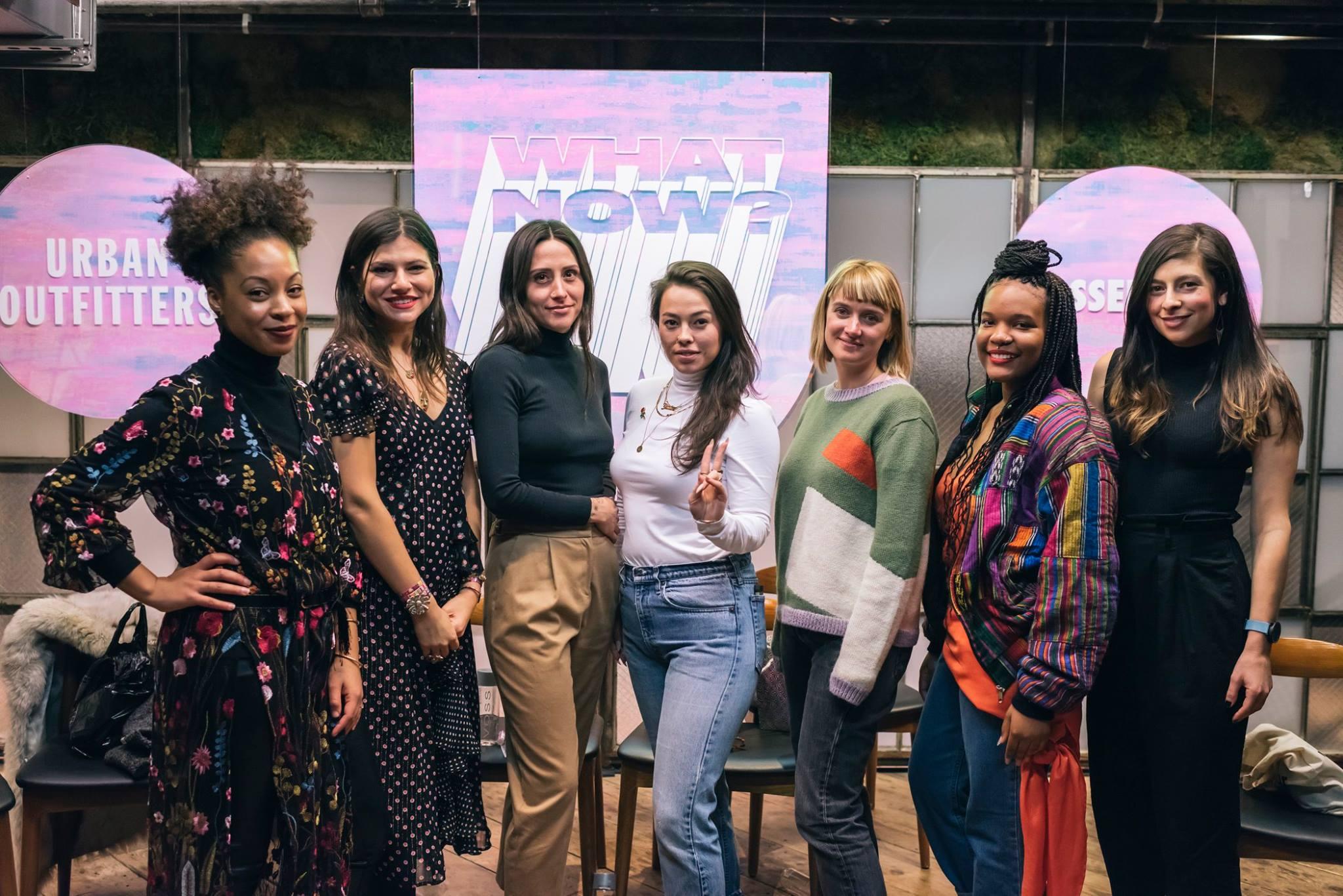 Panelists from left to right:    Christina Coleman   ,    Susan Alexandra   ,    Rachel Howe   ,    Janine Lee   ,    Ellen Van Dusen   , Shydeia Caldwell, and Moderator    Erin Allweiss   . Not pictured:    Grace Miceli   .