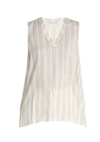brunello cucinelli striped silk top