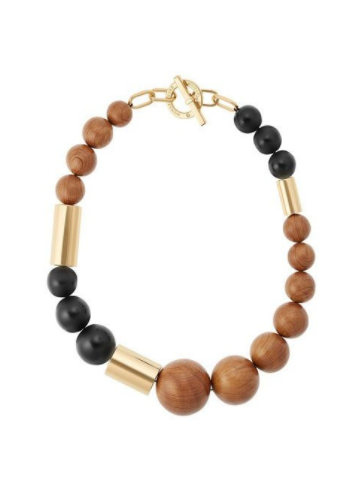 michael kors mixed bead wooden necklace