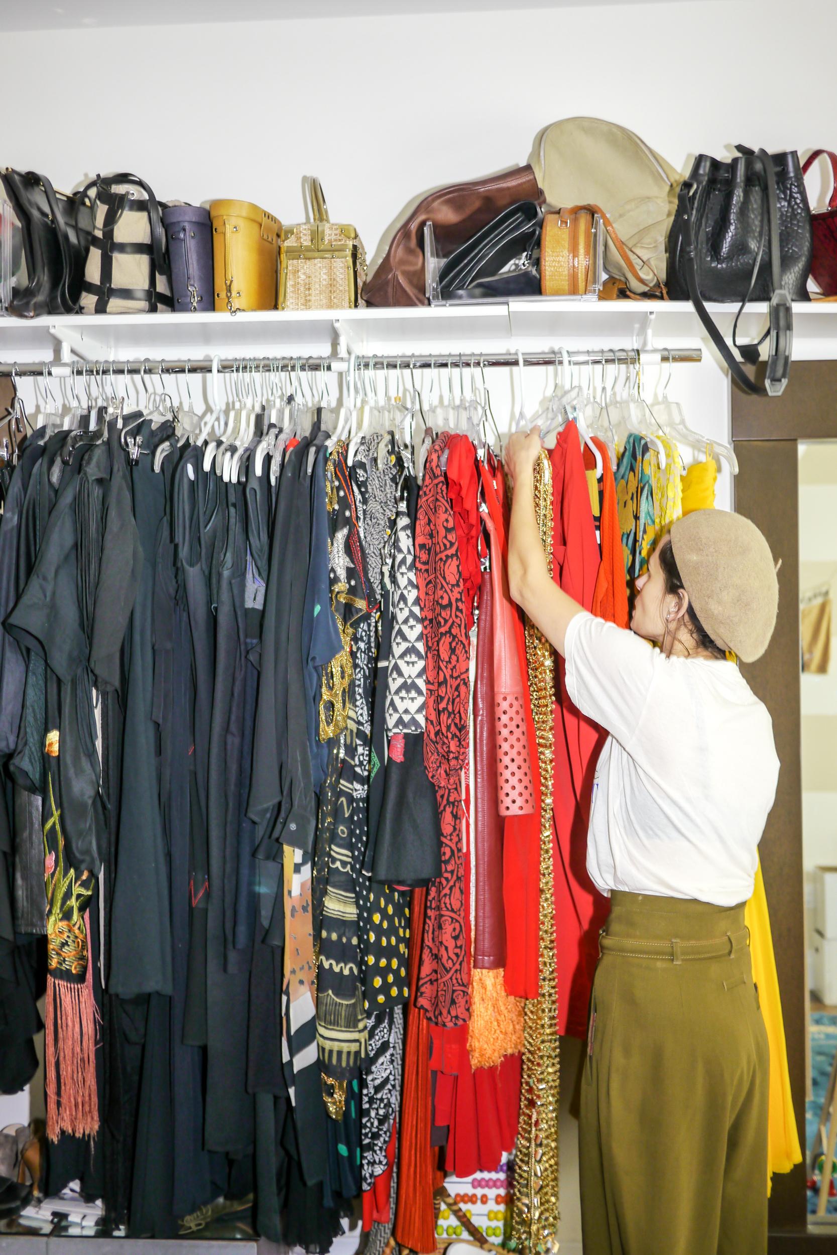 Shirt, MONOGRAM;    Earrings, Mango   ; Pants, Vintage Gaultier; Beret, Vintage