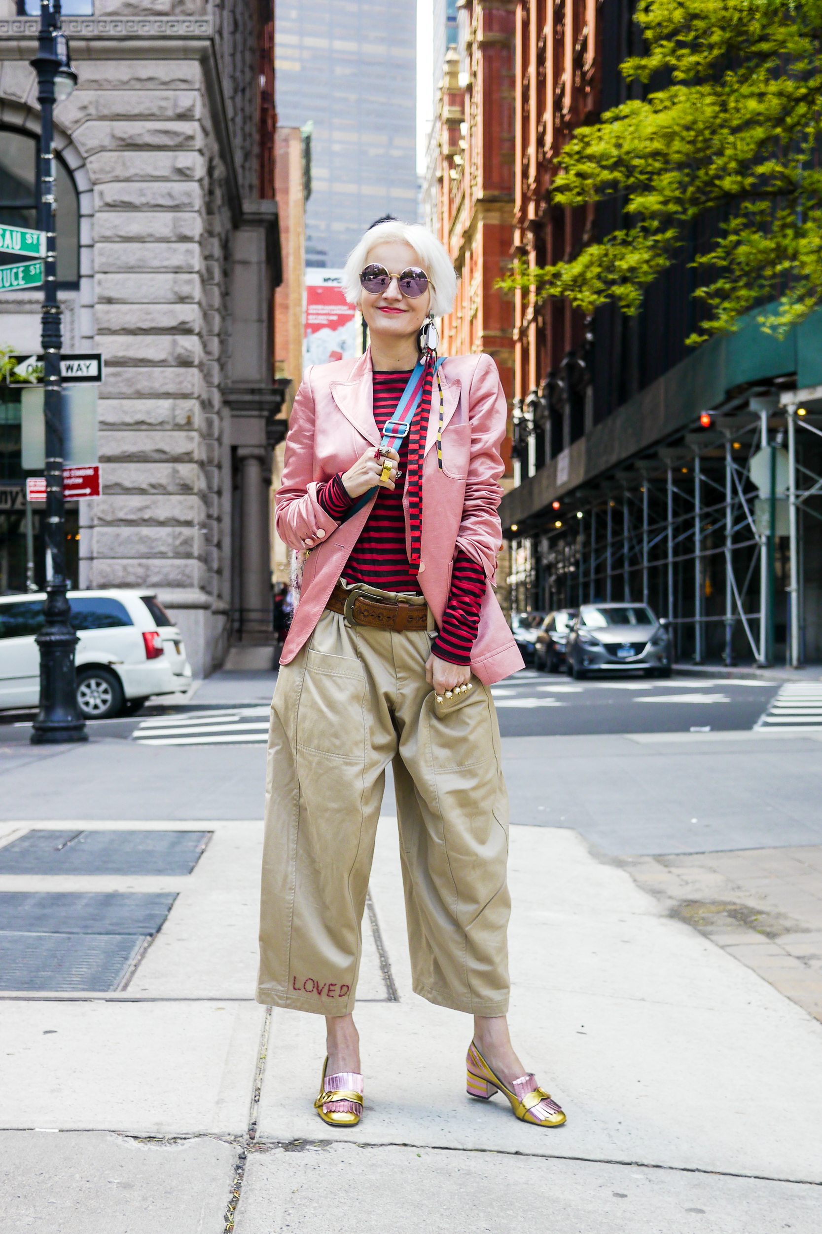 Jacket, Marc Jacobs ; Top, & Other Stories ; Pants, Vintage ; Ring, Gucci ; Shoes, Gucci