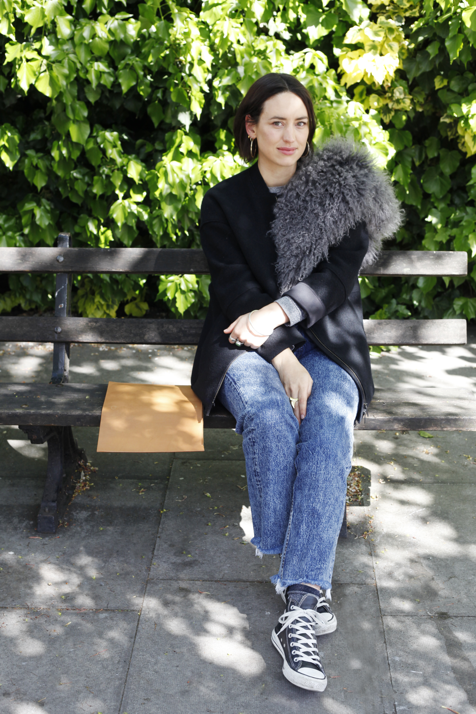 Streetstyle Details:    Jeans, Vintage Levis;       Top, Cos;    Scarf, Vintage; Coat, Sessun;    Trainers, Converse;       Embossed Bag, Anna Walker   ;    Earrings, Dinny Hall