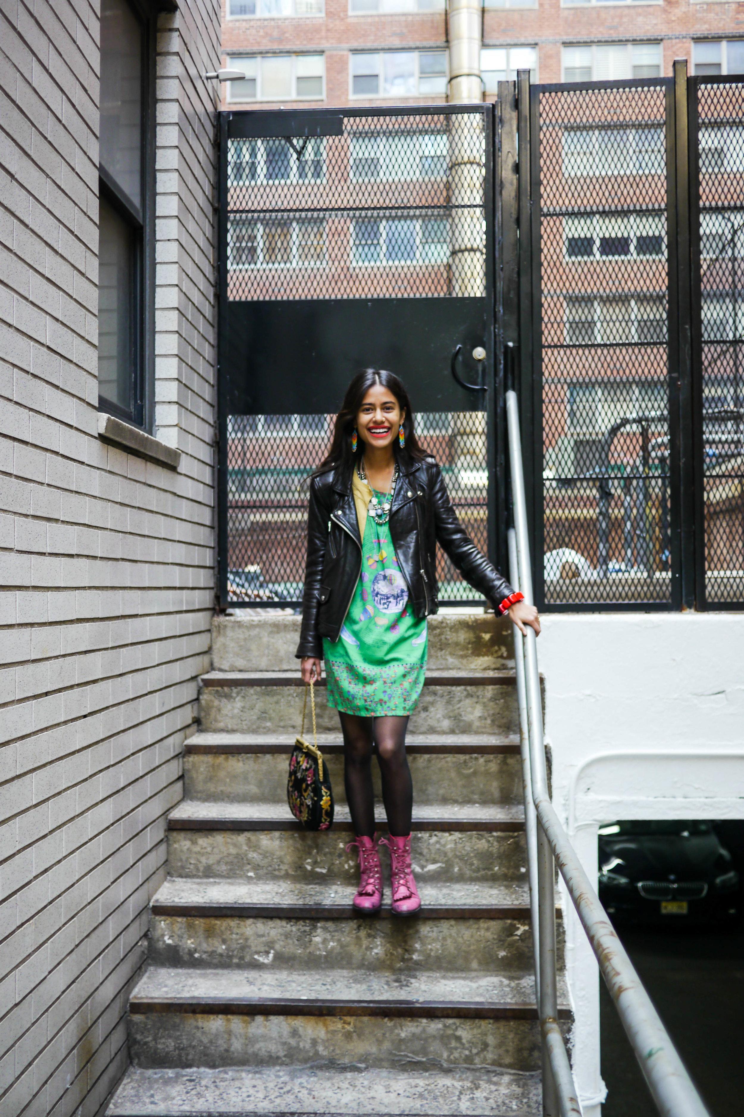 Streetstlye Details: Dress & Bag, Vintage ;    Jacket, IRO    ; Shoes, Saint Laurent ;    Earrings & Necklace, Arpana Rayamjhi
