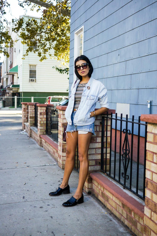 Streetstyle Details:    Top, Topshop    ; Jacket, Levi's ; Shorts, Lee ; Bag, Chloe ; Shoes, Philip Lim