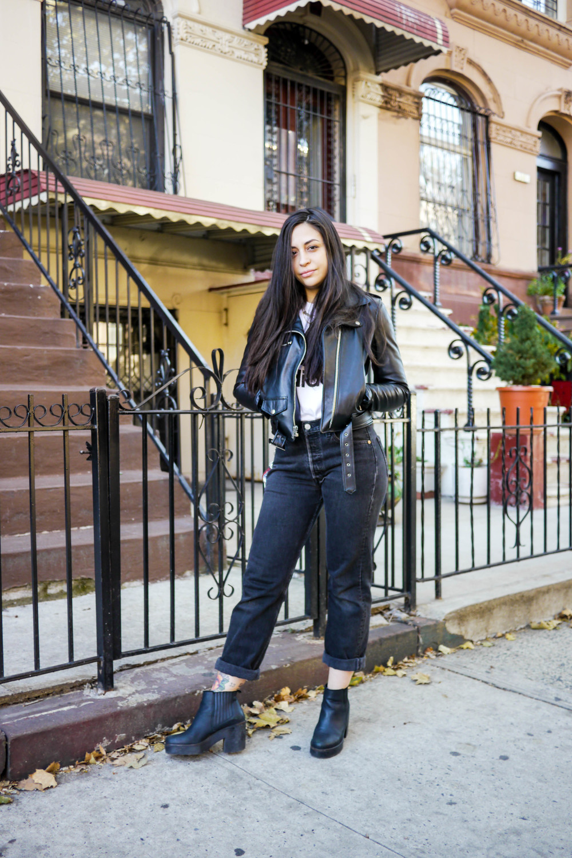 Streetstyle Details:    Top, Adidas    ;    Jeans, Levi's   ; Jacket,    Schott x MadeMe   ; Shoes, Topshop