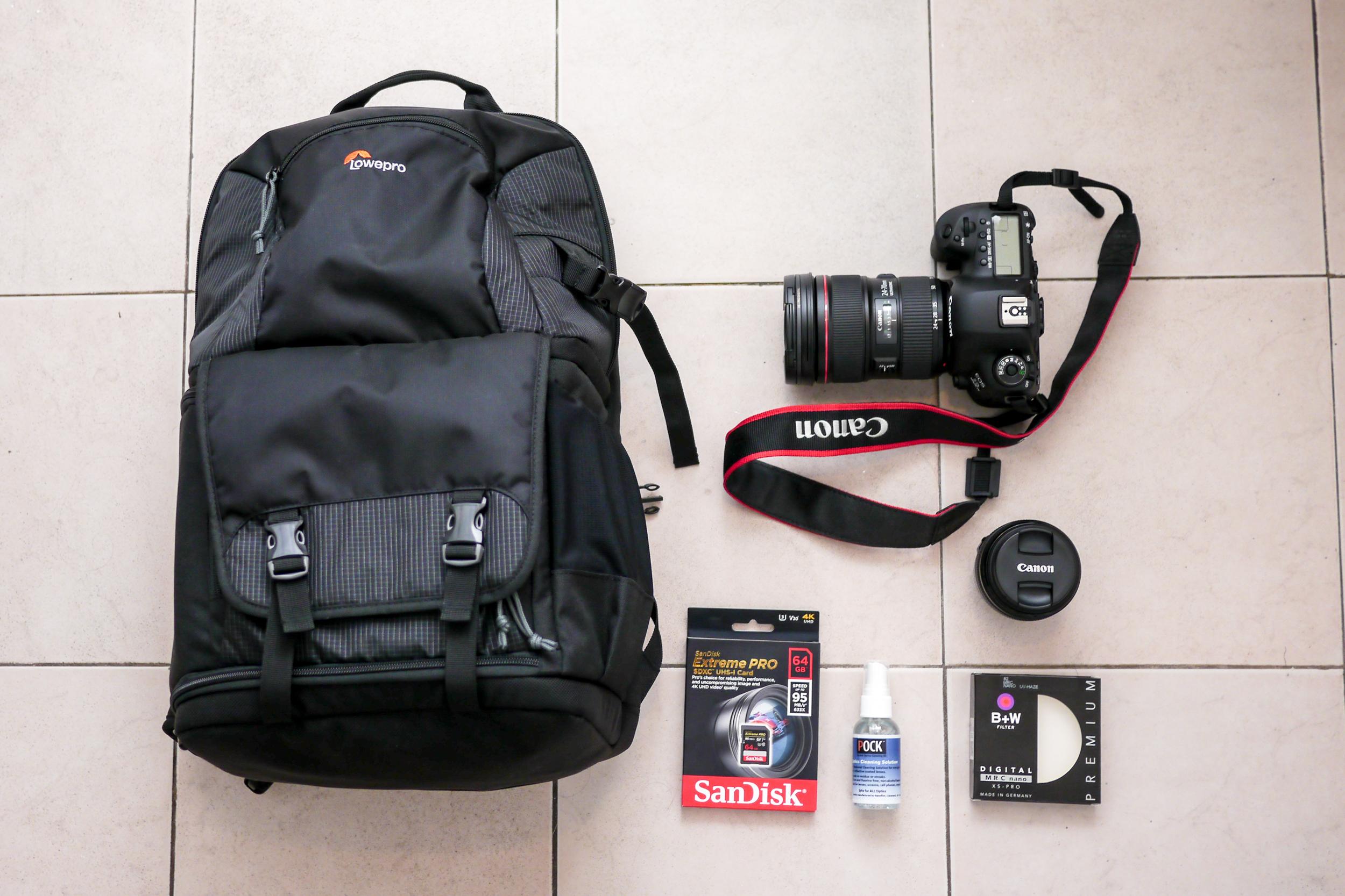 Bag, Lowepro    ;    Camera, Canon    ;    Lens, Canon    ;    UV Filters, Schneider