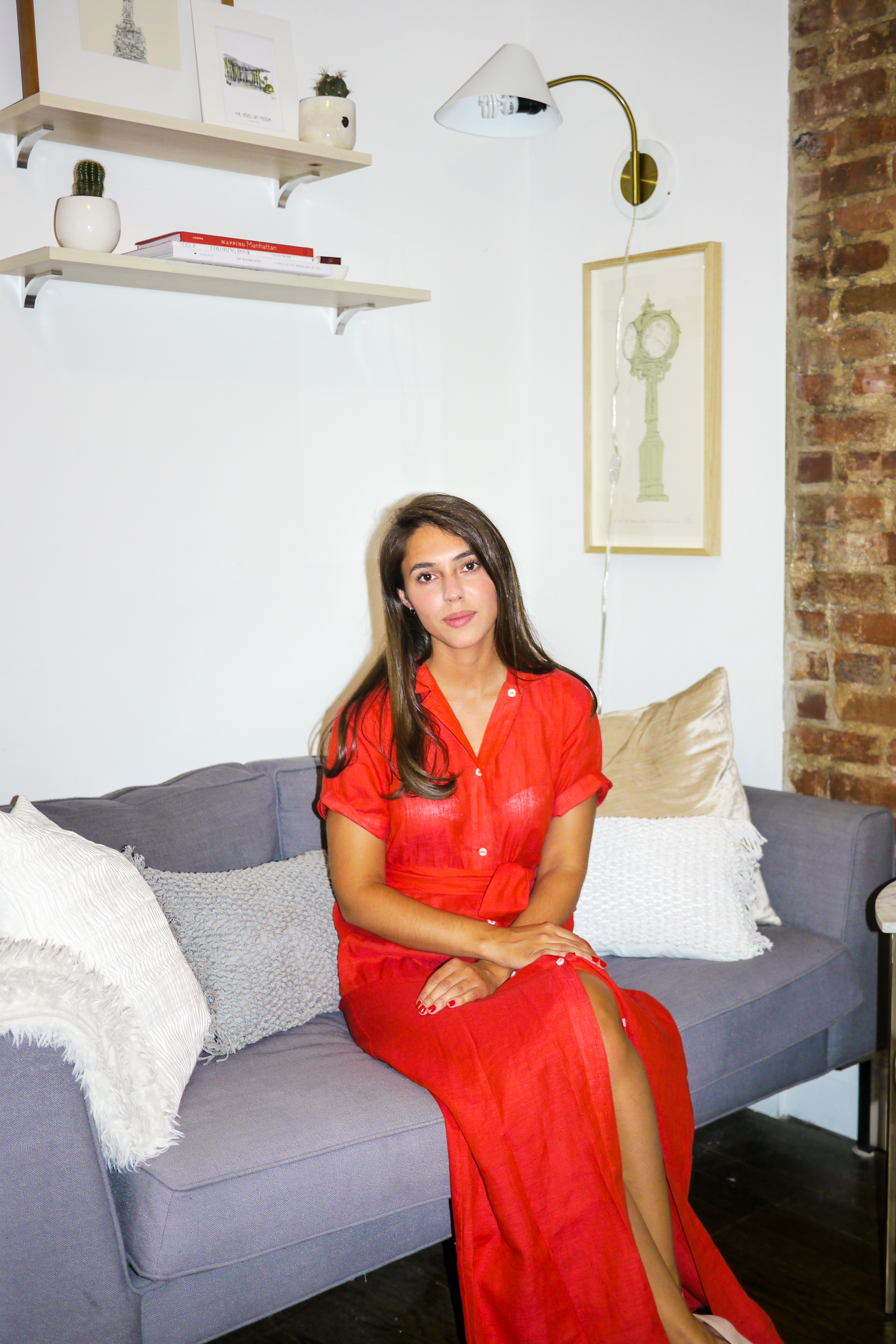 Dress: Micaela Meyer Mayfair Shirtdress; Couch:    Marco Couch