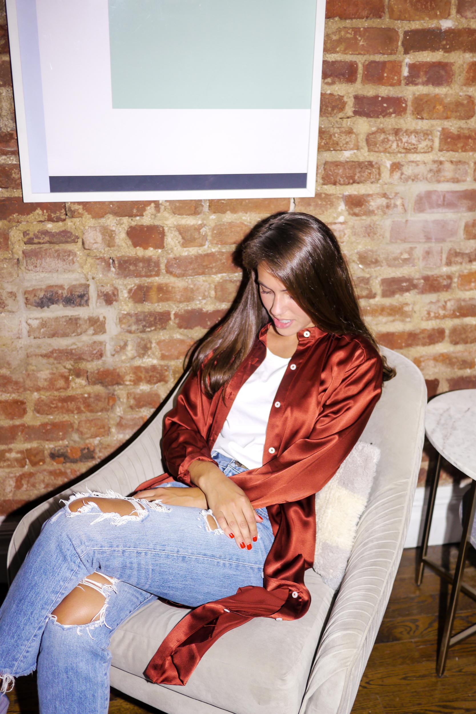 Top: Micaela Meyer Bloomsbury; Jeans:    Rivet & Thread High Rise Slim Jeans
