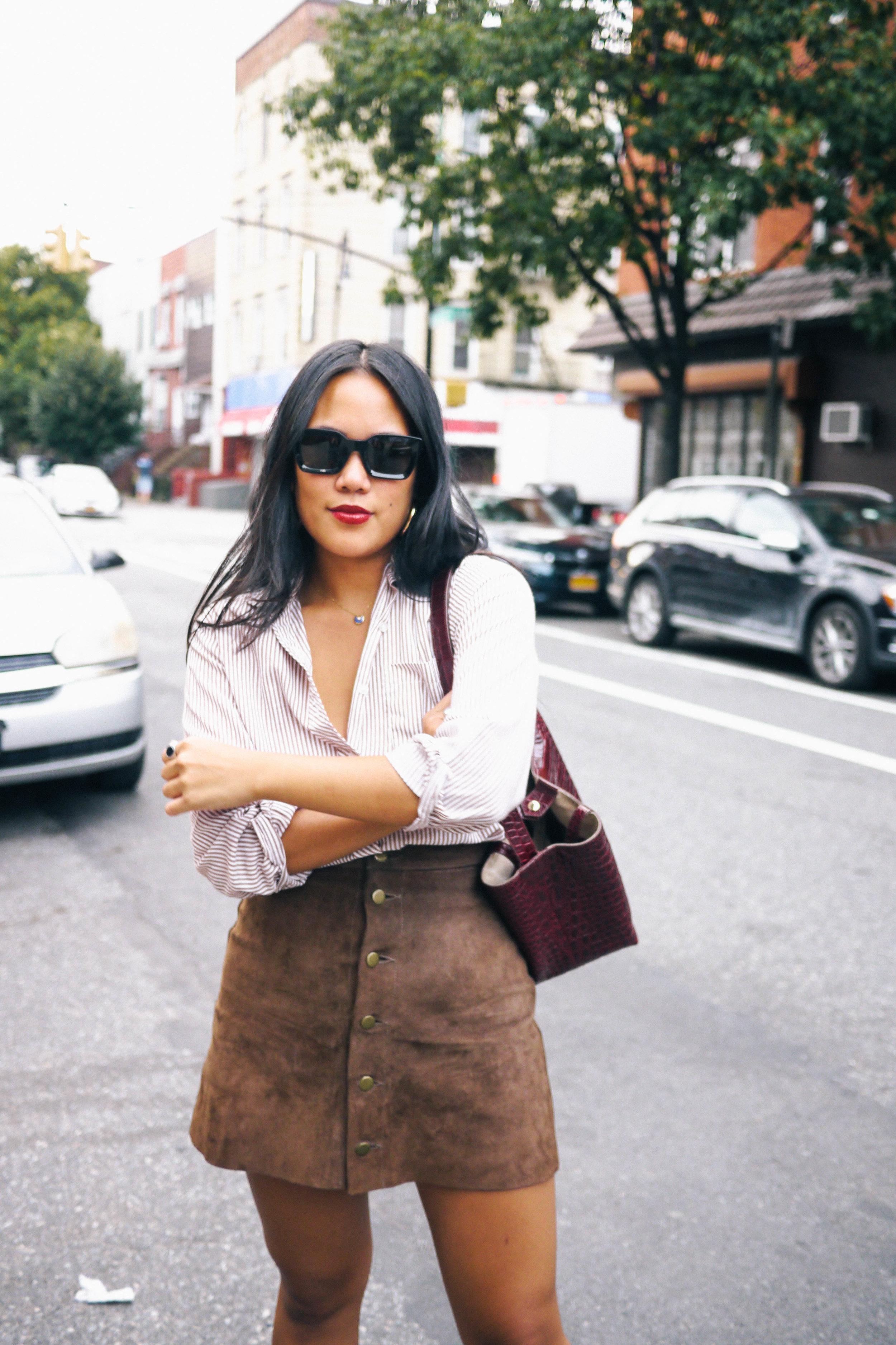 Top: Vintage; Skirt: American Apparel; Sunglasses:    Celine   ; Bag:    Elizabeth & James