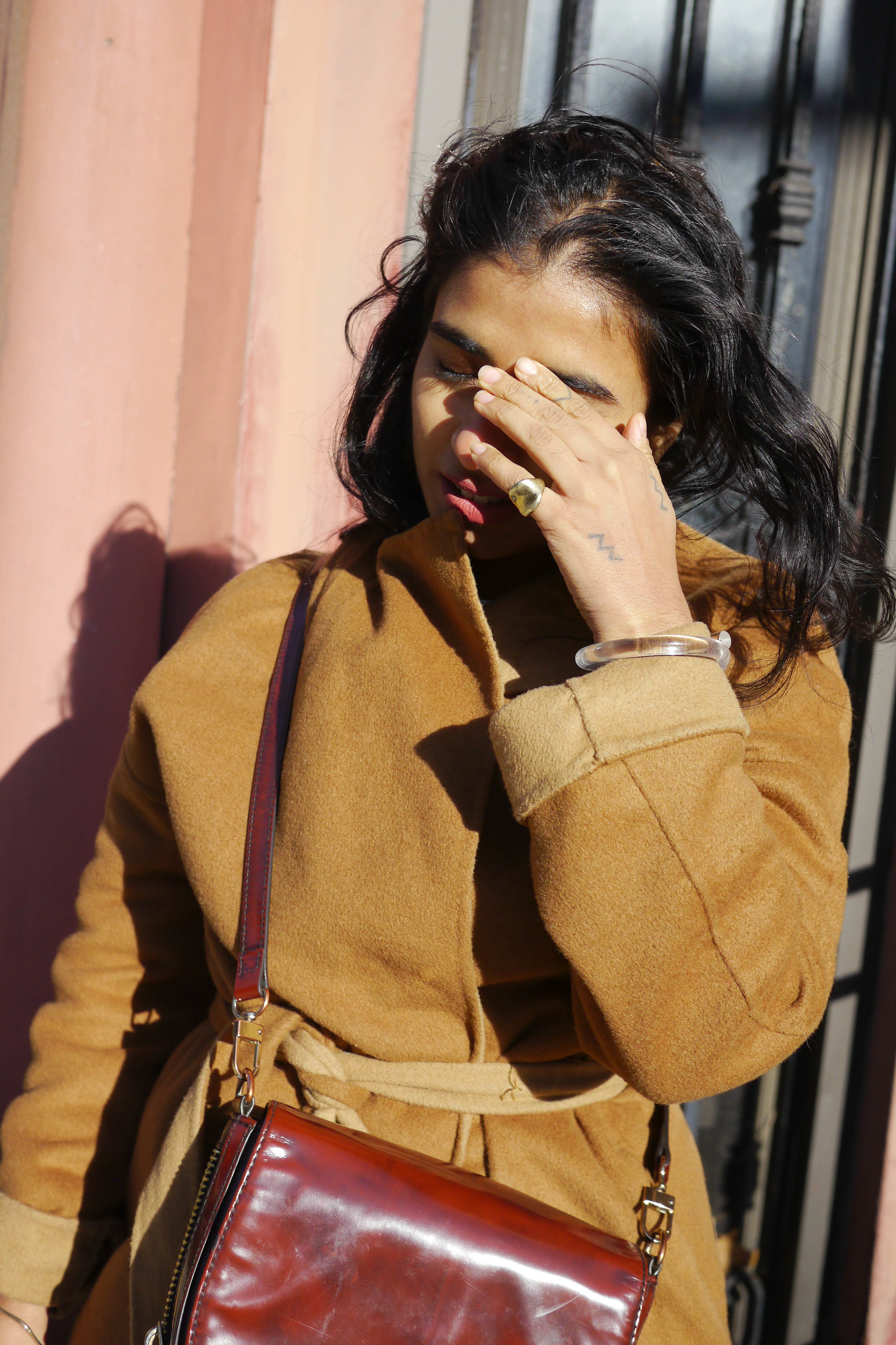 Jacket, Thrifted ; Earrings, Faris ; Bag, Zara ; Ring, Blessed Poppy
