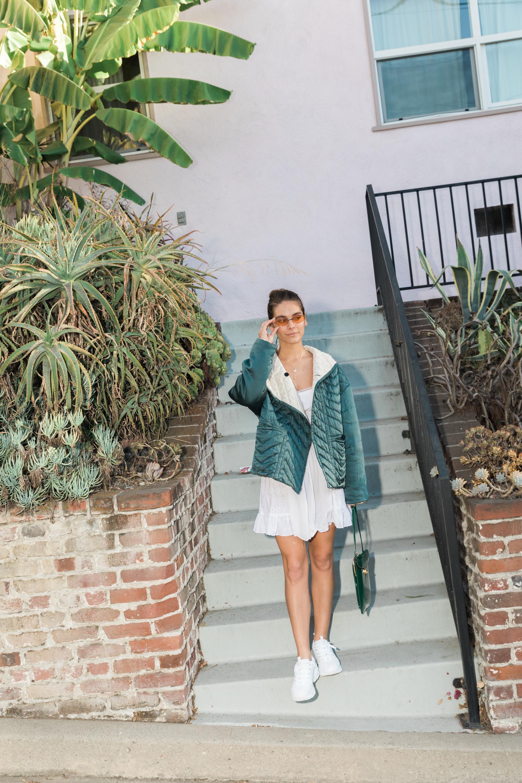 Dress: Daisy, Jacket: Isabel Marant, Shoes:    Skechers   , Sunglasses: Vintage via Flea Market, Bag: Vintage via Catwalk