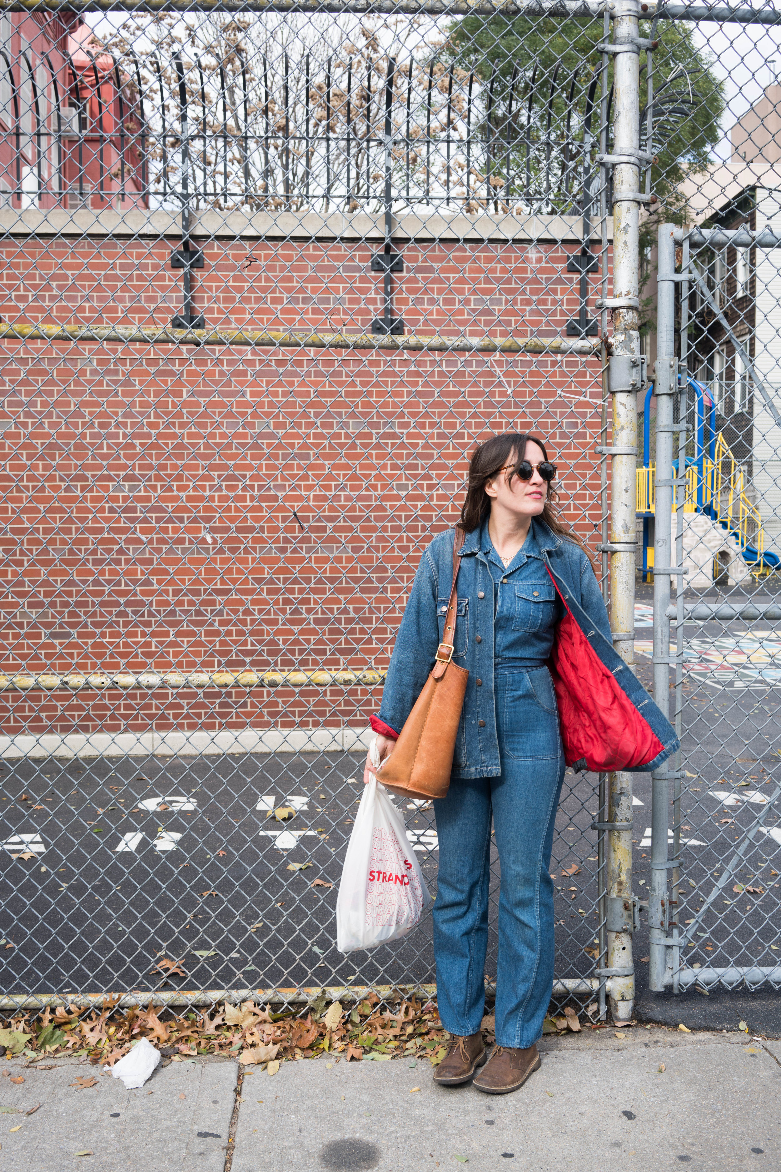 Jumpsuit, Sunglasses, Thrifted; Bag, Vintage Coach;    Boots, Clark's    ;    Reusable Grocery Bag, The Strand