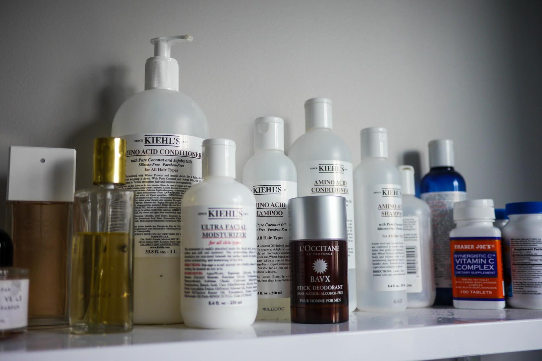 Kiehl's Ultra Facial Oil Free Toner   ,    Kiehl's Ultra Facial Moisturizer   ,    Kiehl's Amino Acid Conditioner   ,    Kiehl's Amino Acid Shampoo   ,    L'Occitane Stick Deodorant   ,    Trader Joe's Vitamin C Complex