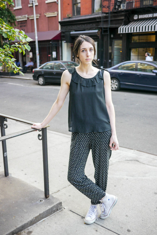 top, carson potter ; pants, vintage (from duo) ;    shoes, converse    ;    bag, clare v.