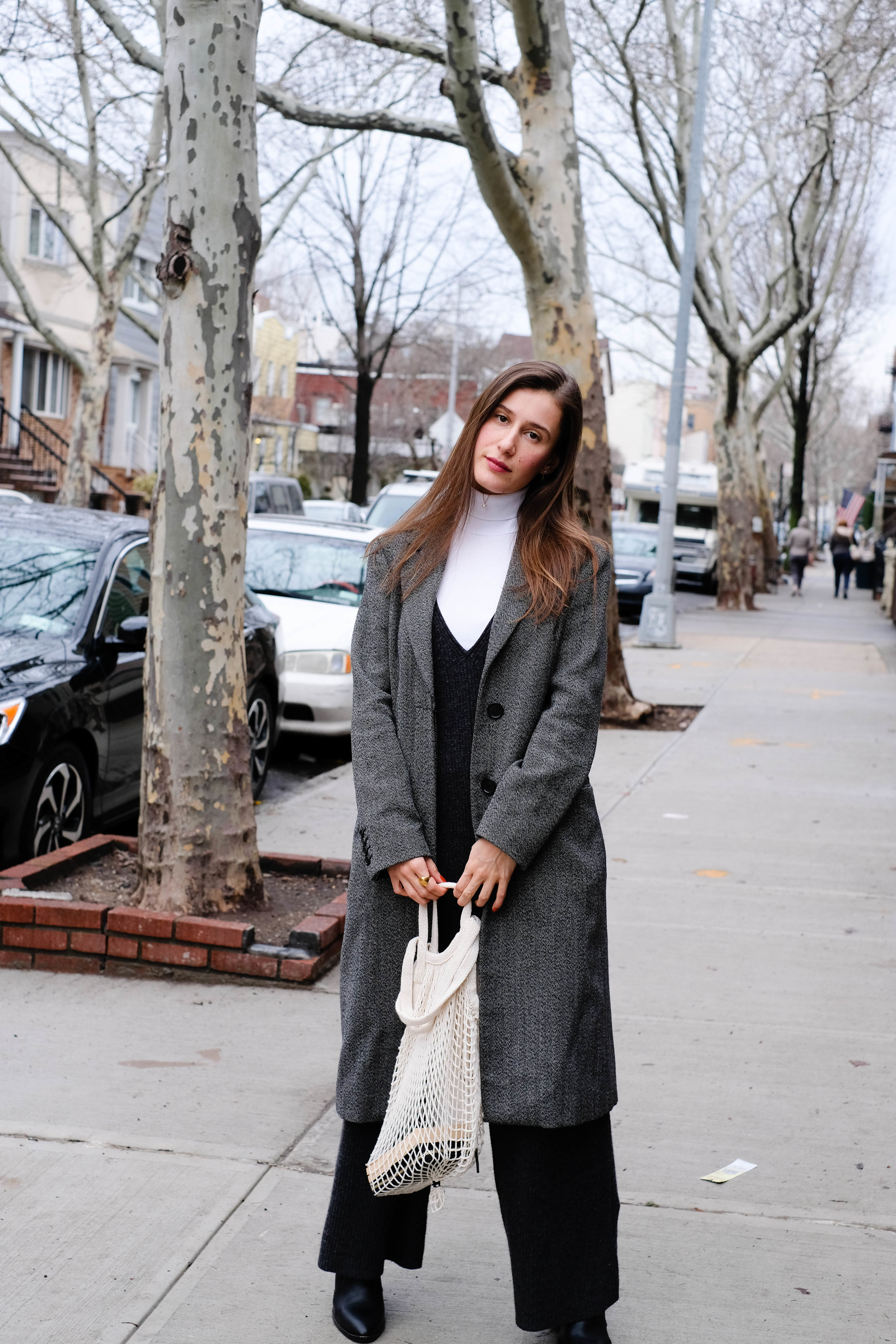 Wool Jumpsuit, Madewell ;    Turtleneck, Everlane    ; Coat, Vintage ; Bag, Grocery Store in Chinatown