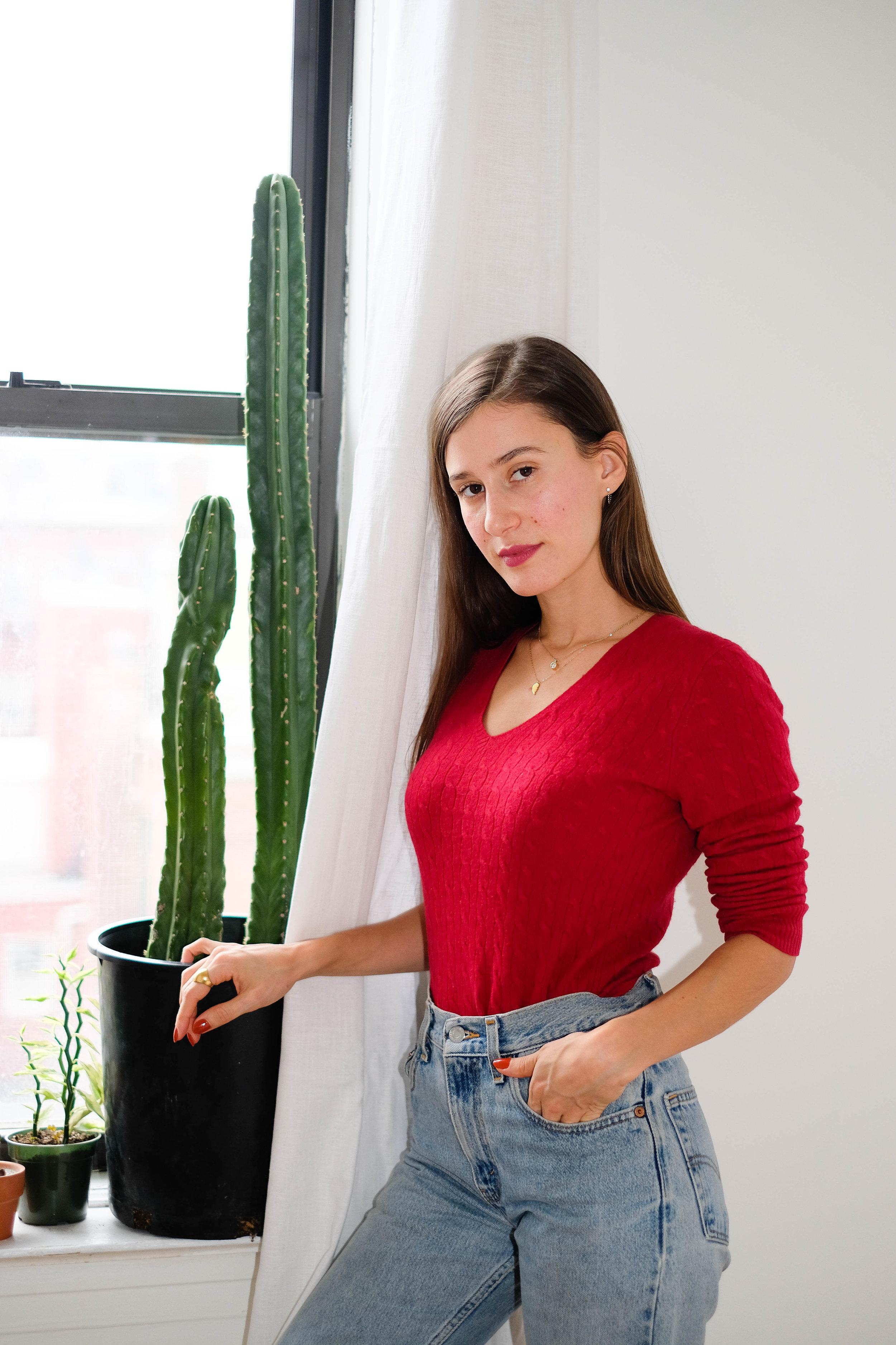 Red Sweater, Vintage via 10 Ft Single by Stella Dallas ; Jeans, Vintage Levi's