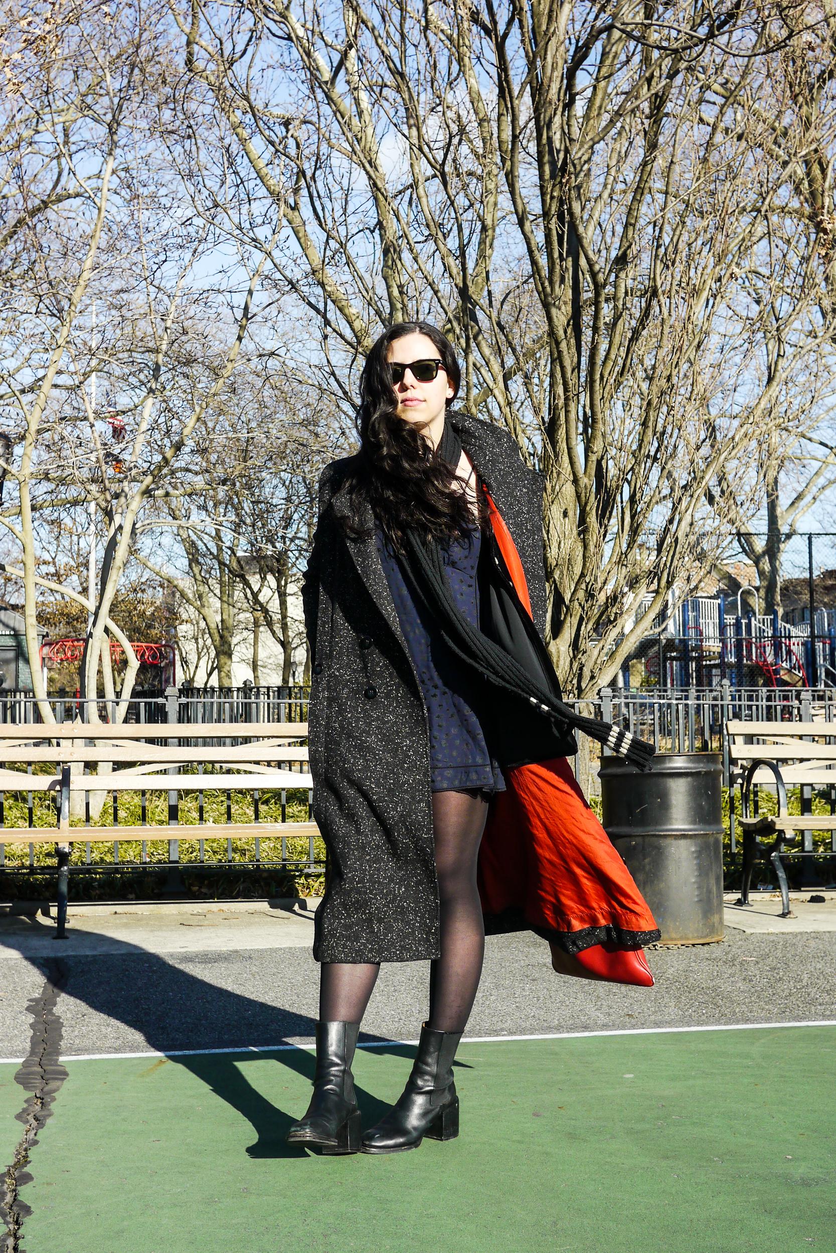 Coat, David Benjamin Vintage; dress, sunday best; scarf, Polo Ralph Lauren; shoes, vintage;    Sunglasses, ray ban