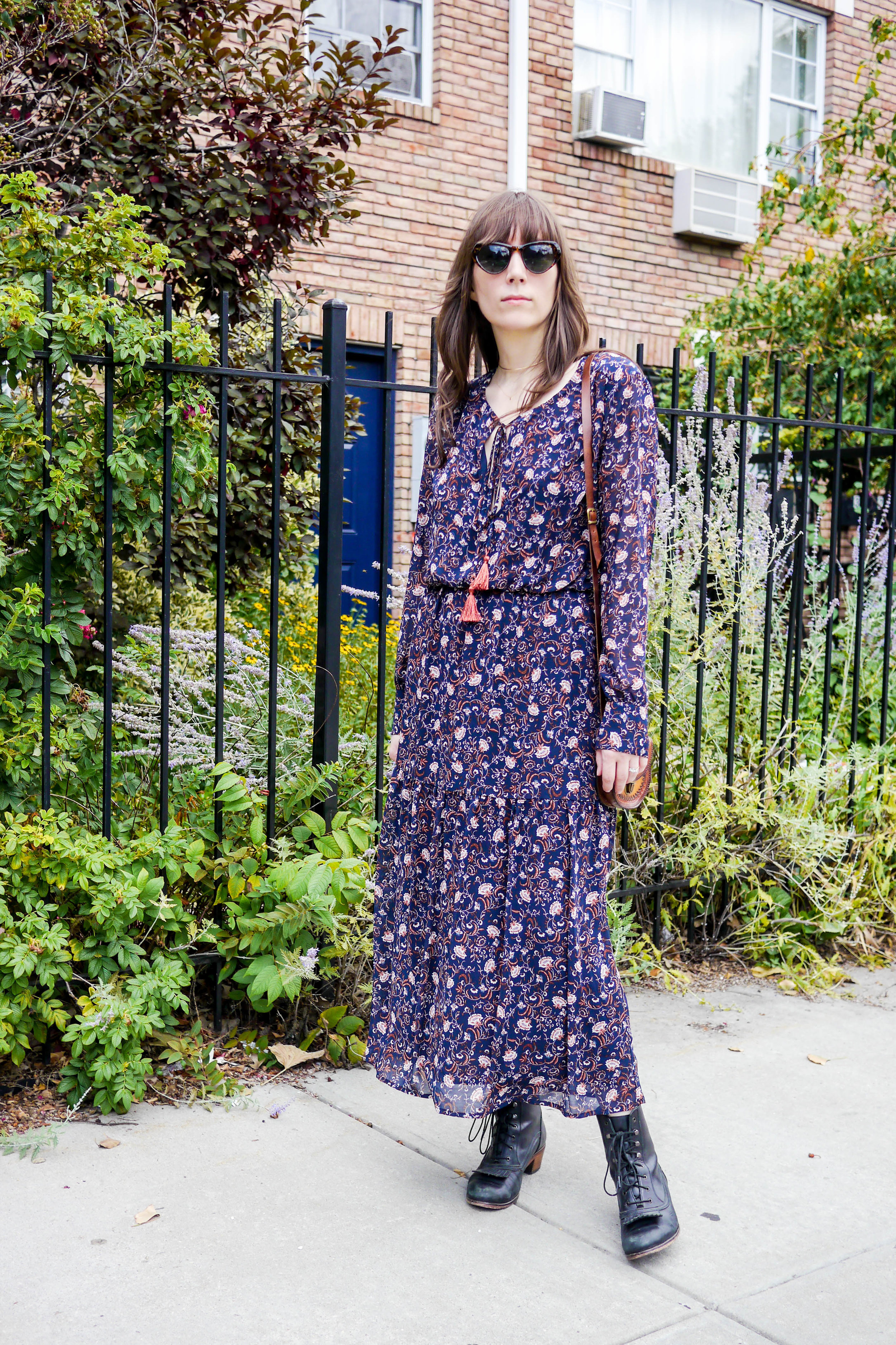 Dress, Wayf    ; Bag, Vintage ;    Boots, Samantha Pleet    ;    Sunglasses, Spitfire