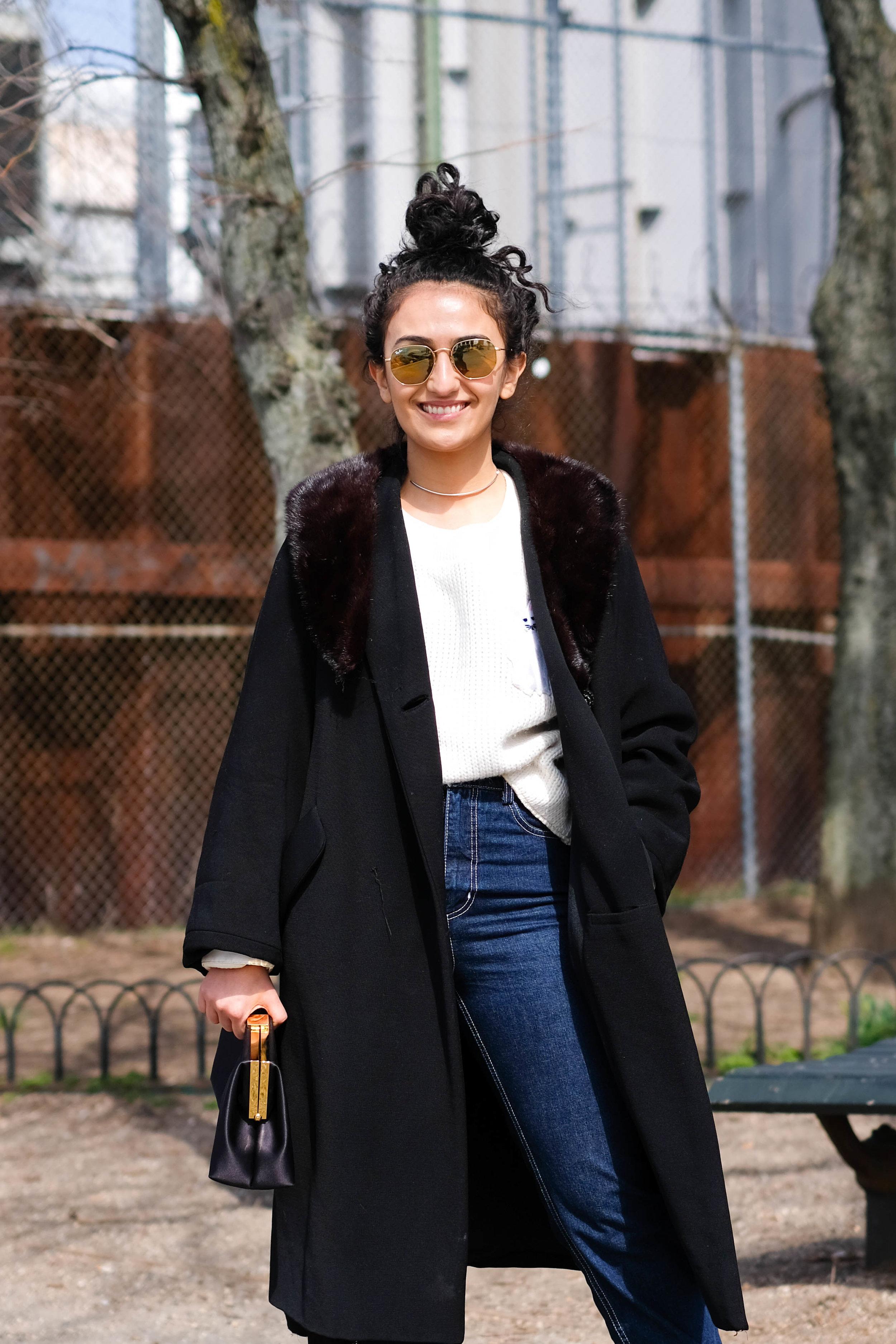 Coat, Sweater & Bag, Vintage ; Jeans, Rachel Comey ; Sunglasses, Ray Ban