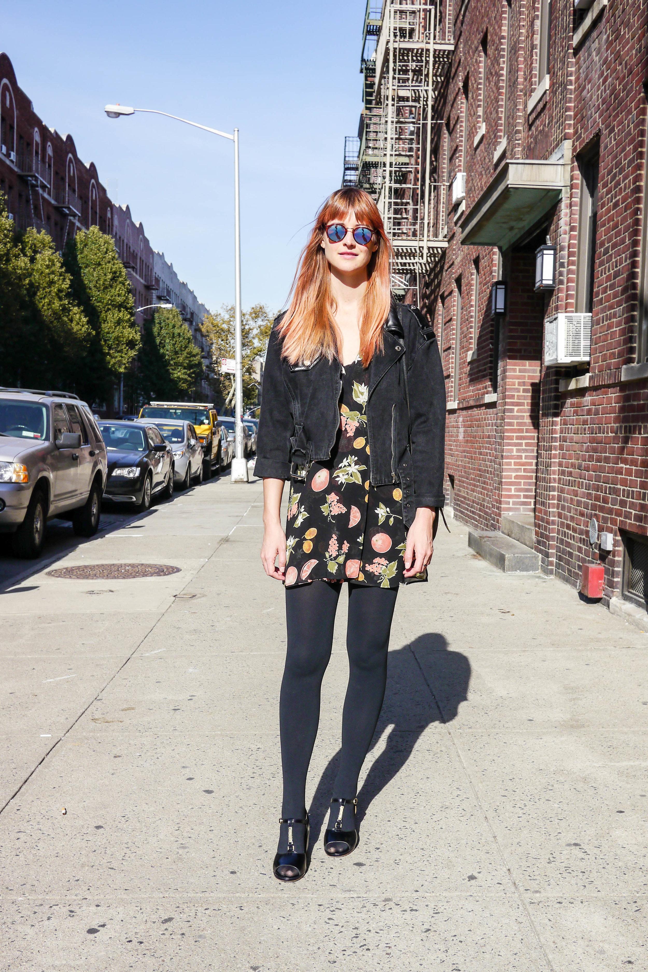 Dress,    Reformation    ; Jacket, Jordache ; Bag, Vintage ; Shoes, A.P.C. ; Sunglasses, Suncloud
