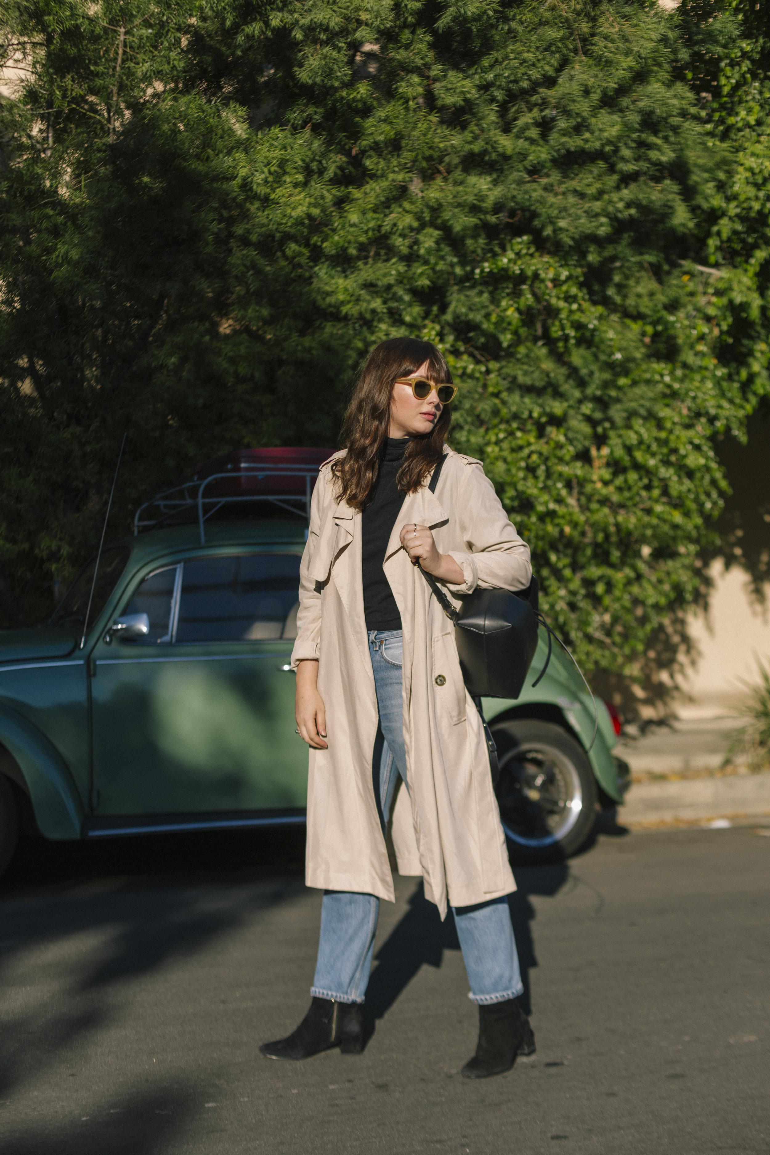trench coat, mango    ;    backpack, mansur gavriel    ;    sunglasses, garrett leight x clare v    ;    turtleneck, madewell