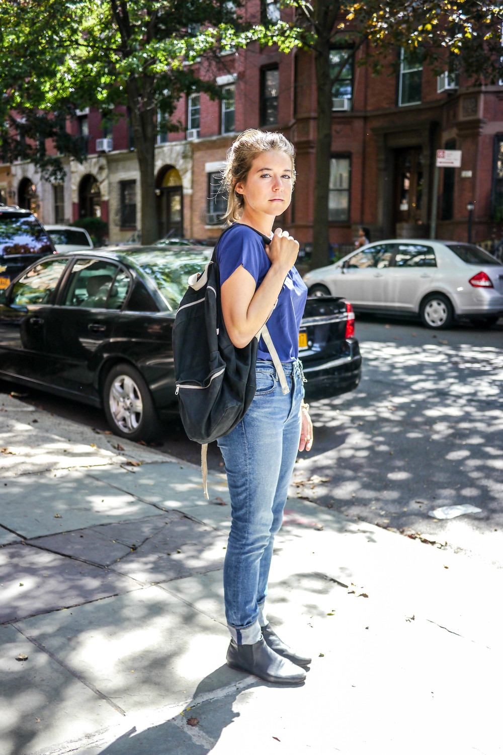 Top: Anna & Frank,    Jeans: Alexander Wang   ,    Bag: American Apparel   ,    Boots: FRYE