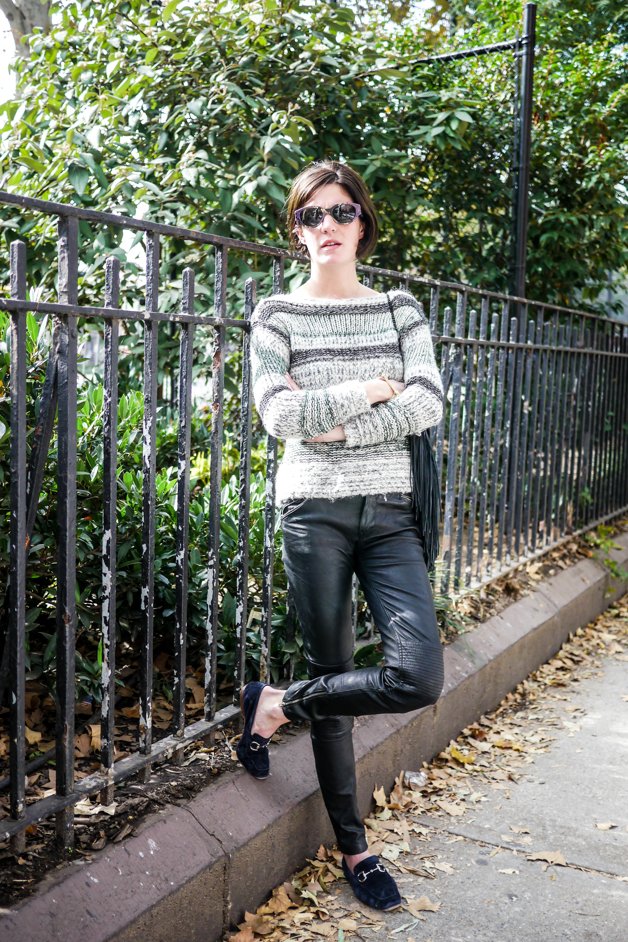 Sweater: Isabel Marant   ,    Pants: Blk Dnm   , Shoes: Vintage,    Sunglasses: Retrosuperfuture   ,    Bag: Loeffler Randall