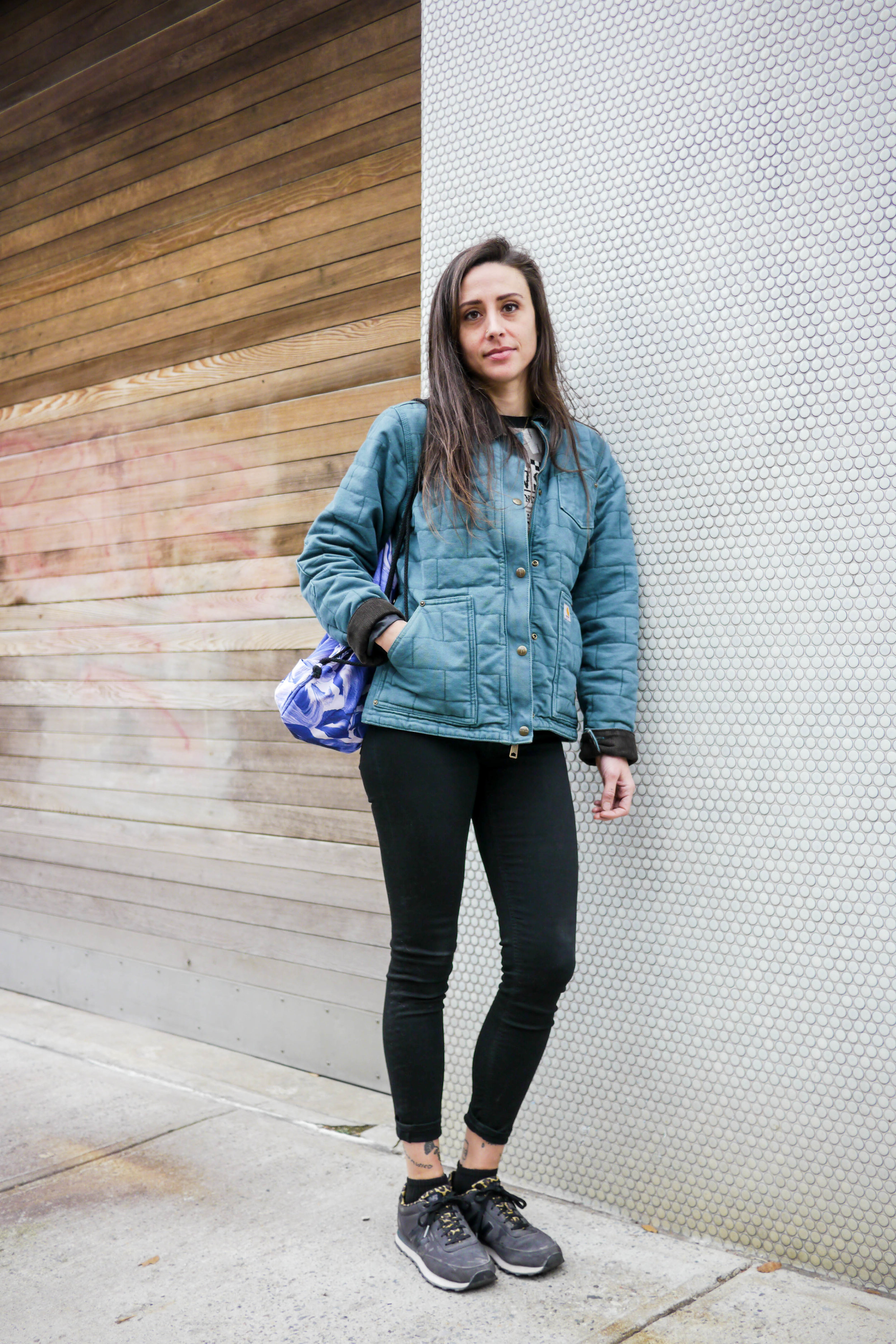 Top: Viva Vena, Jacket: Carhartt,    Jeans: Acne   ,    Shoes: New Balance   ,    Bag: Mansi Shah