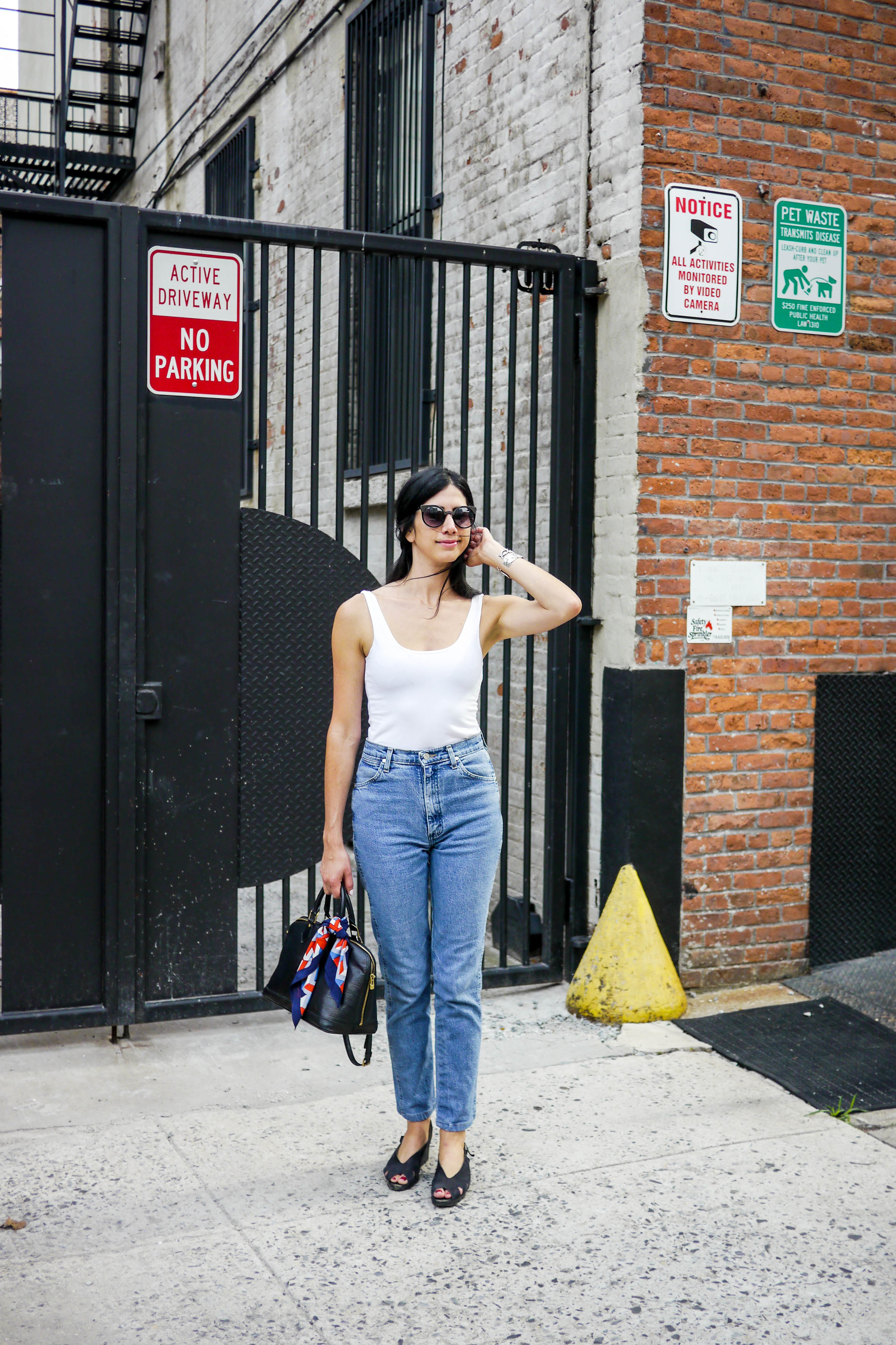 Top, American Apparel    ;    jeans, Wrangler    ;    bag, louis vuitton    ;    Scarf, Urban outfitters    ;    Necklace,  ADINA REYTER