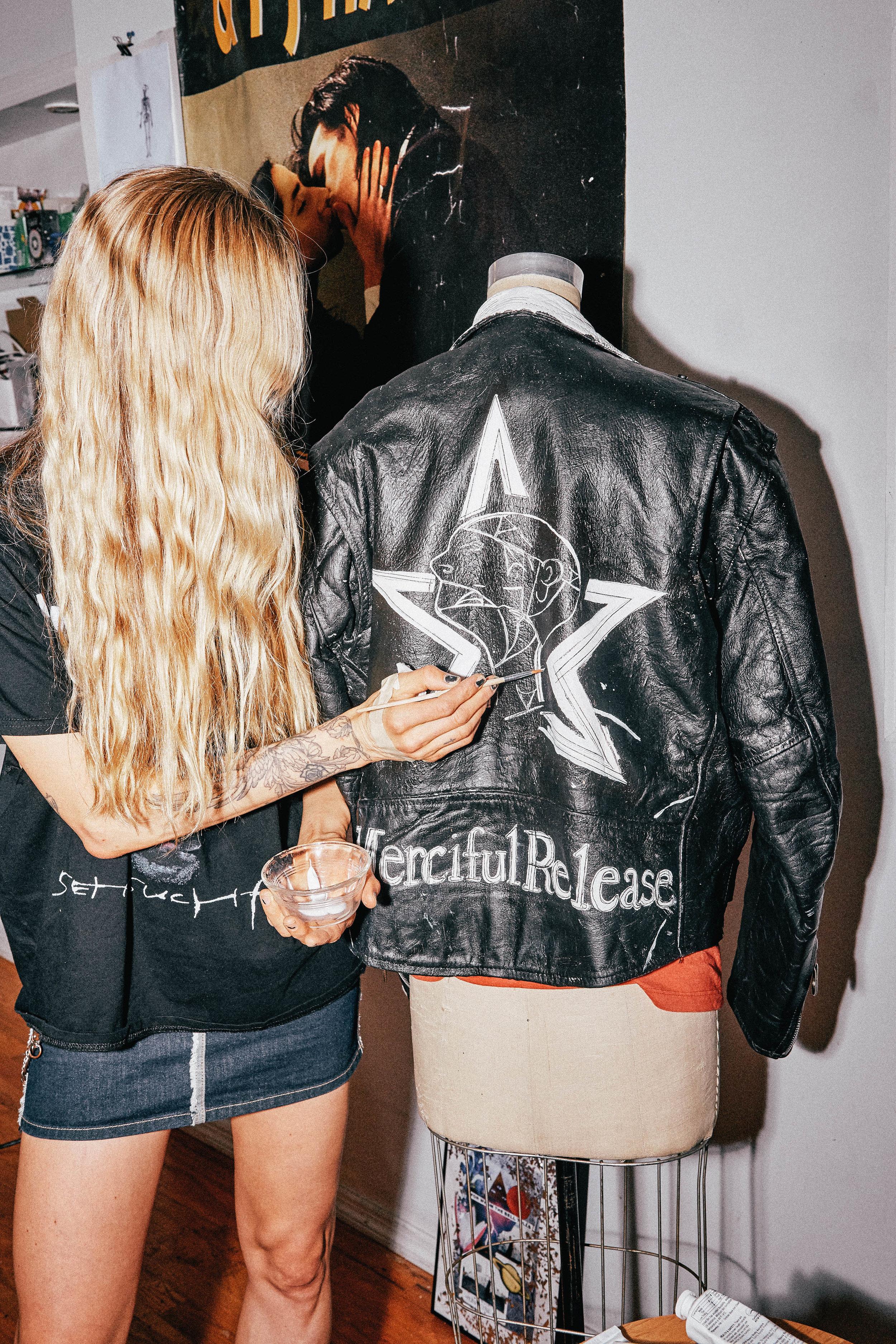 Vintage Rammstein Shirt, Gaultier Denim Skirt, Alexander Wang Boots