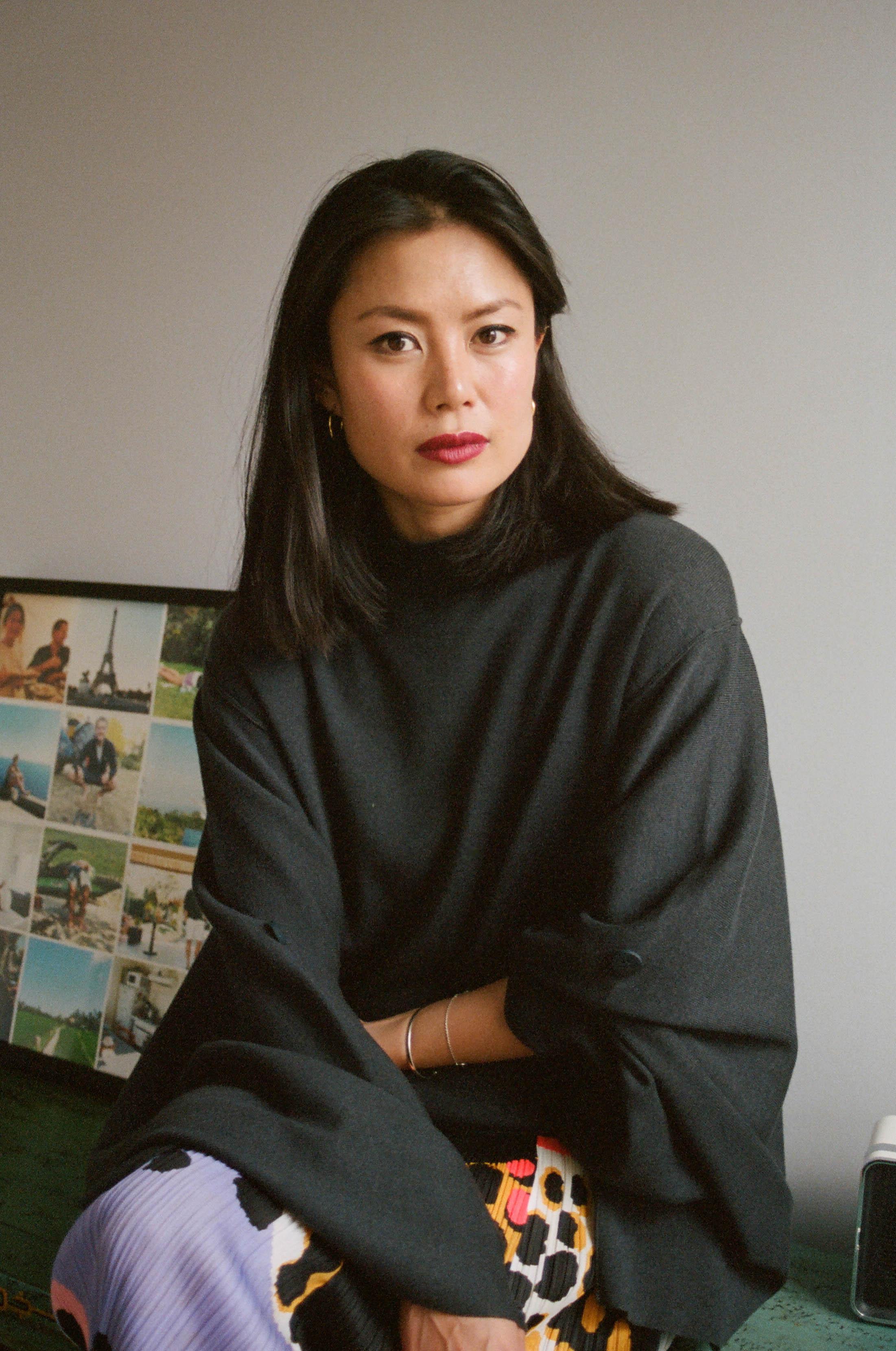 Kimono Sweater, PHVLO ; Skirt, Issey miyake