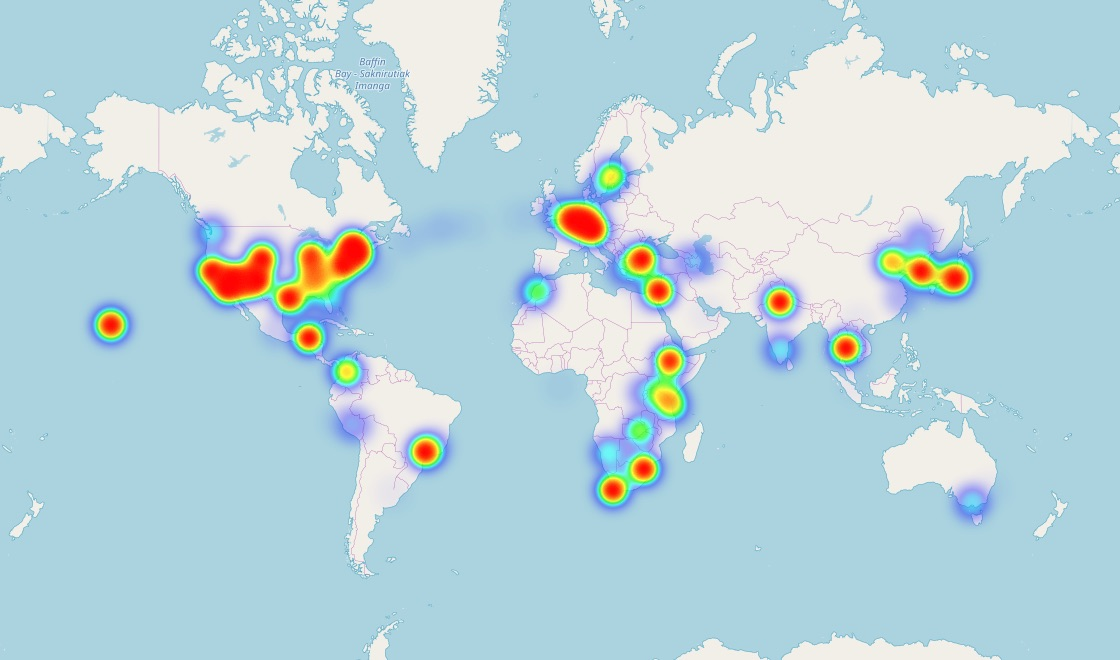 A heatmap of my Google Location History 2013-2018 (not all locations have data - for example, I was in Mongolia in 2011 but there are no data there).
