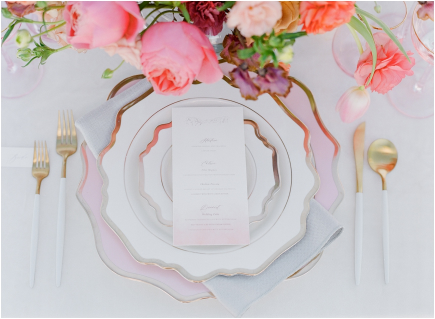 Elegant rose wedding dishes
