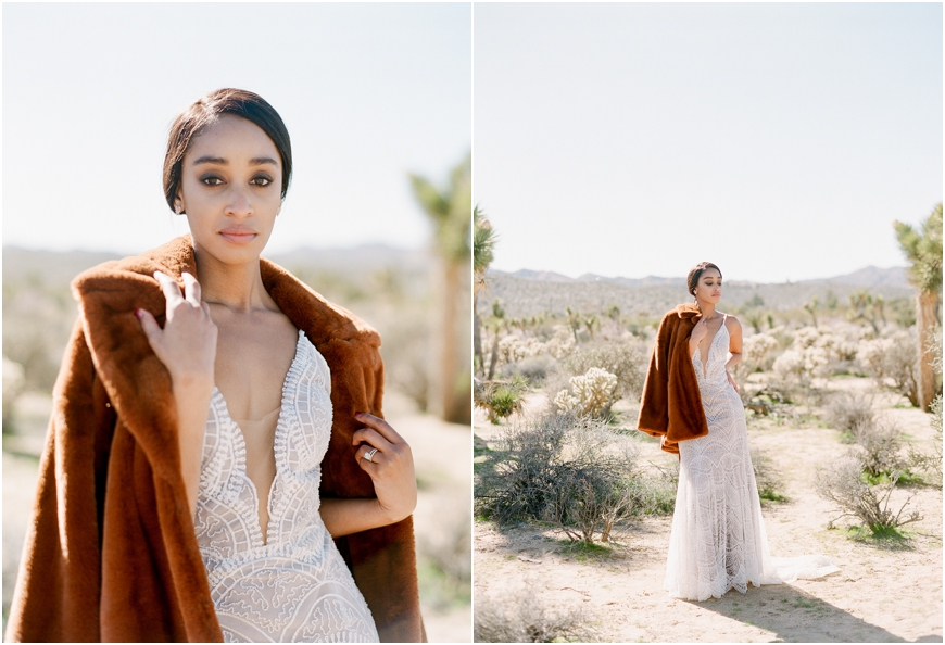 Joshua tree fur coat bride